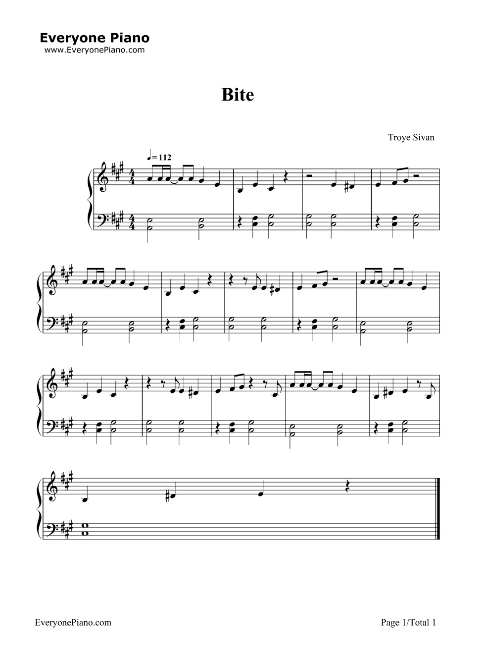 troye sivan sheet music