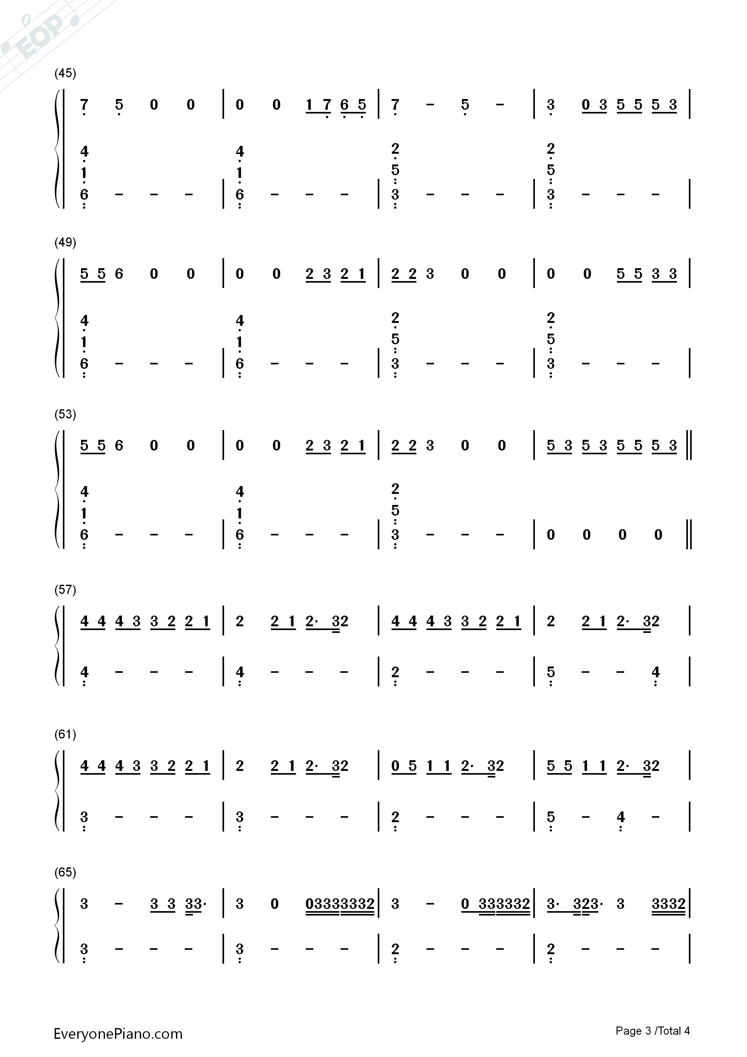 Hotline Bling-Drake Numbered Musical Notation Preview 3-Free Piano Sheet Music u0026 Piano Chords