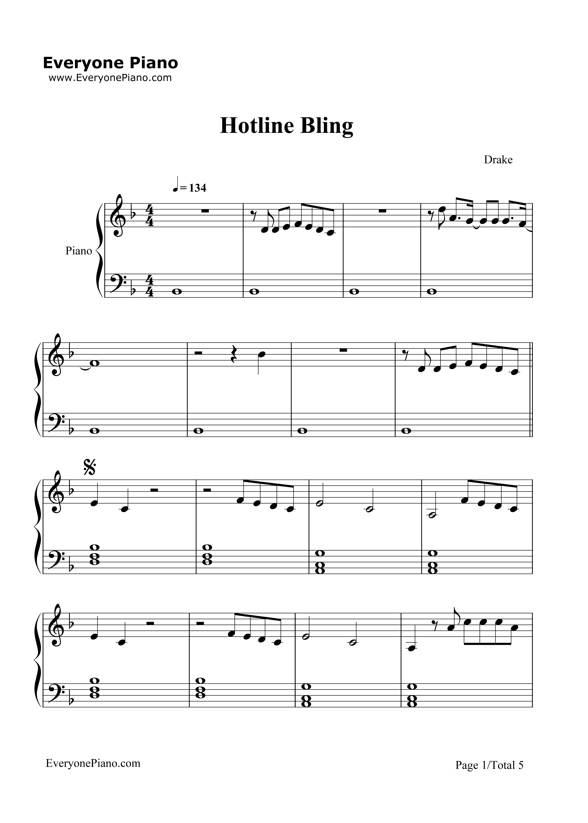 Hotline Bling-Drake Stave Preview 1-Free Piano Sheet Music u0026 Piano Chords