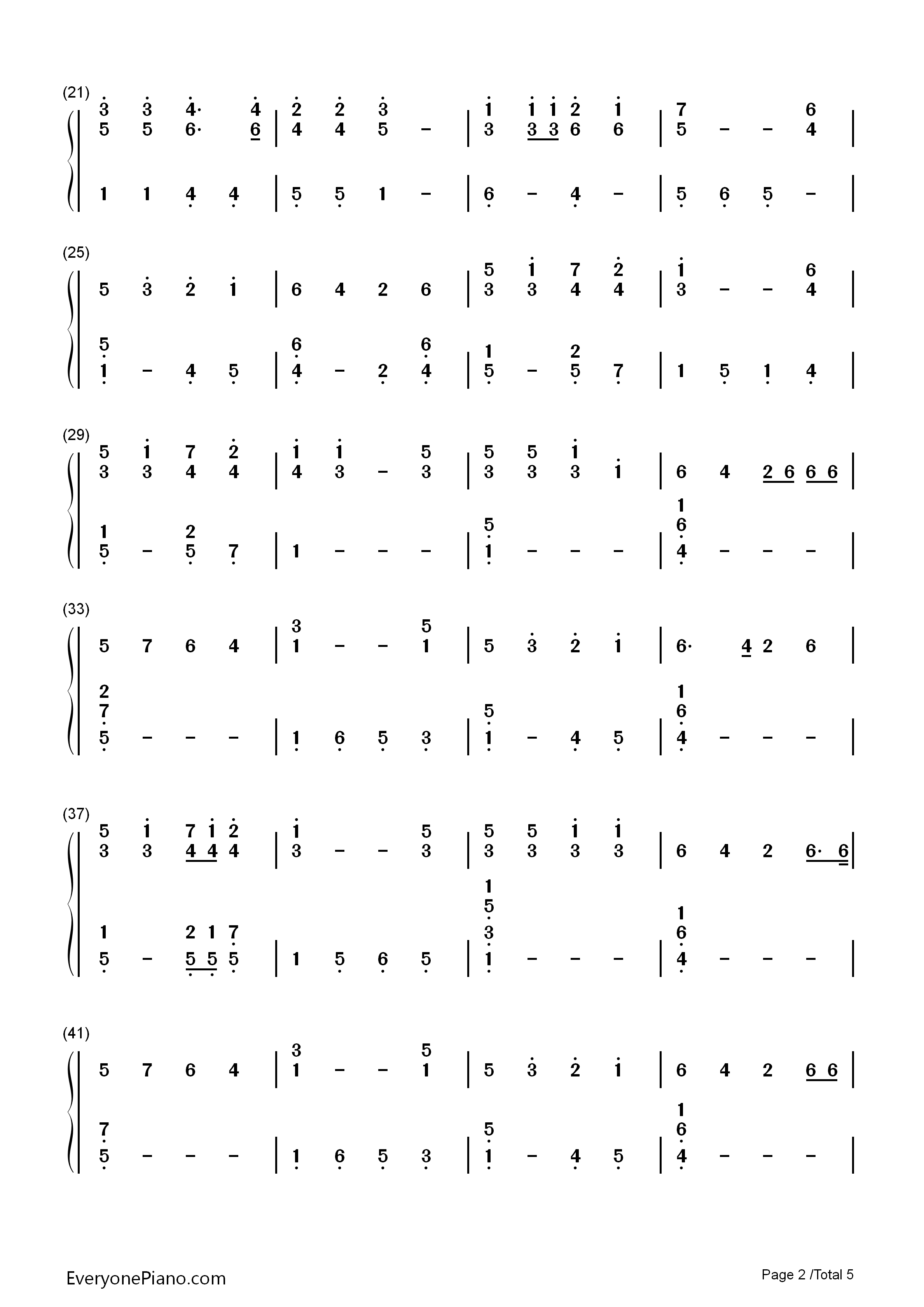 Mary's Boy Child-Christmas song Numbered Musical Notation Preview 2