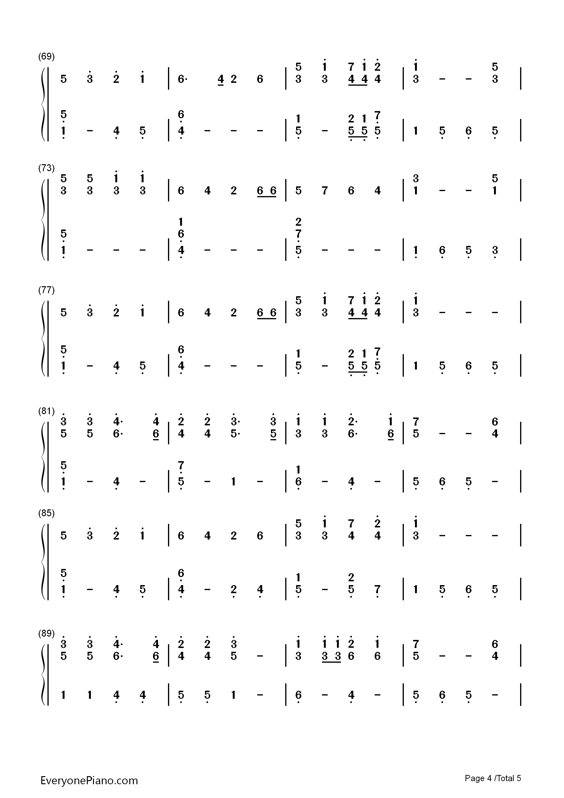Mary's Boy Child-Christmas song Numbered Musical Notation Preview 4