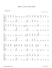 Mary's Boy Child-Christmas song Numbered Musical Notation Preview 1