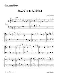 Mary's Boy Child-Christmas song Stave Preview 1
