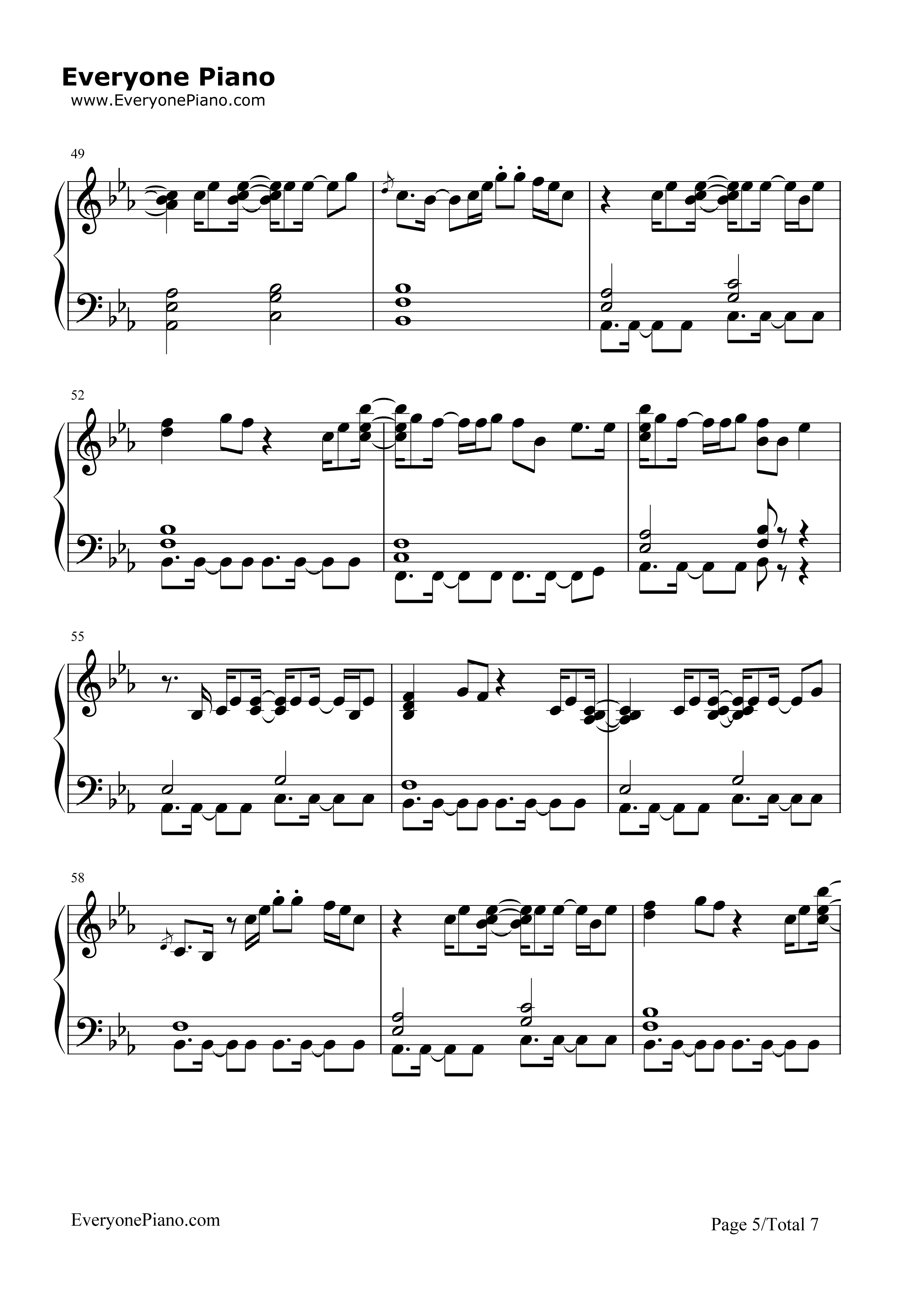 Sorry-Justin Bieber Stave Preview 5-Free Piano Sheet Music u0026 Piano Chords