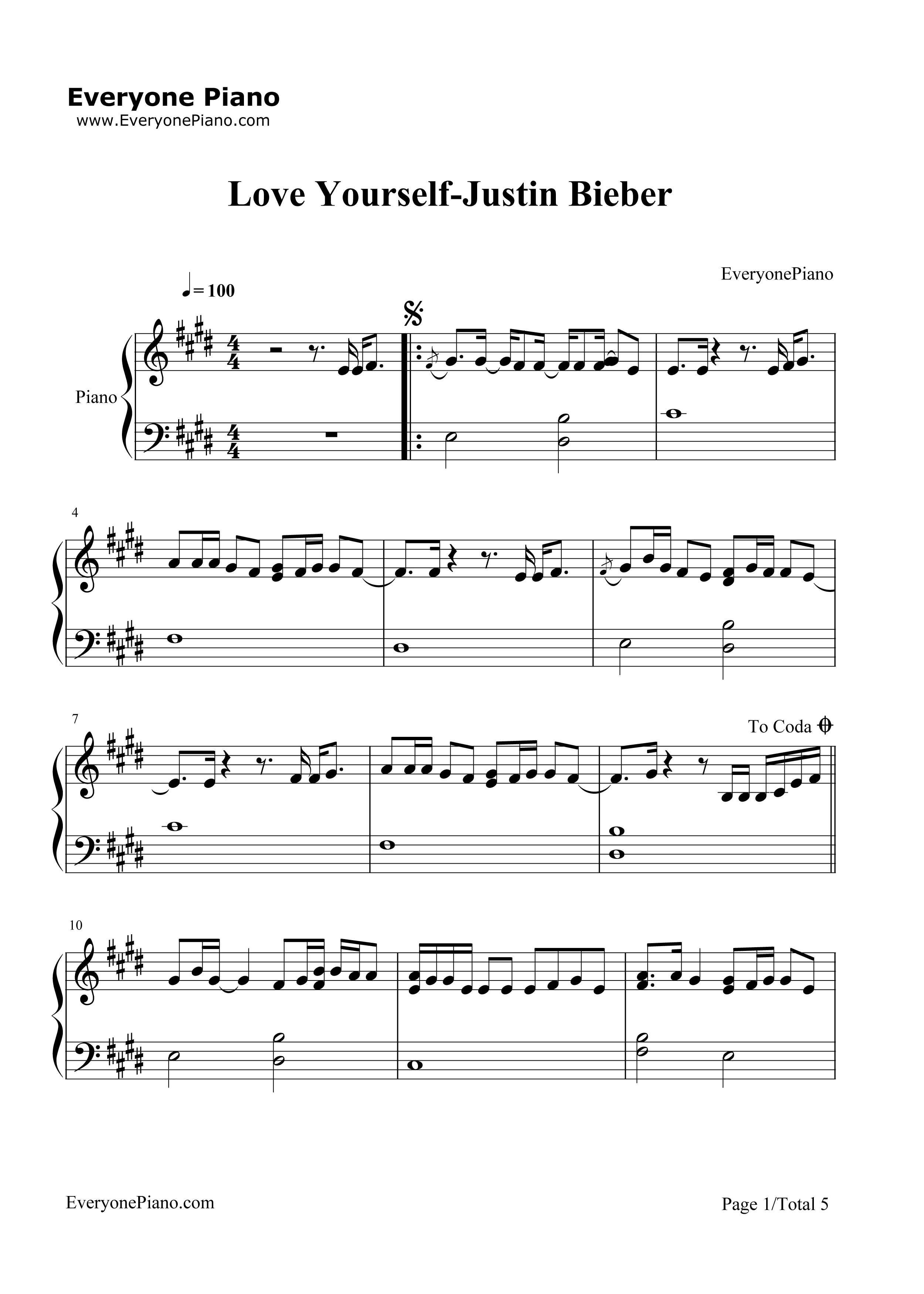 Love Yourself-Justin Bieber Stave Preview 1-Free Piano Sheet Music u0026 Piano Chords