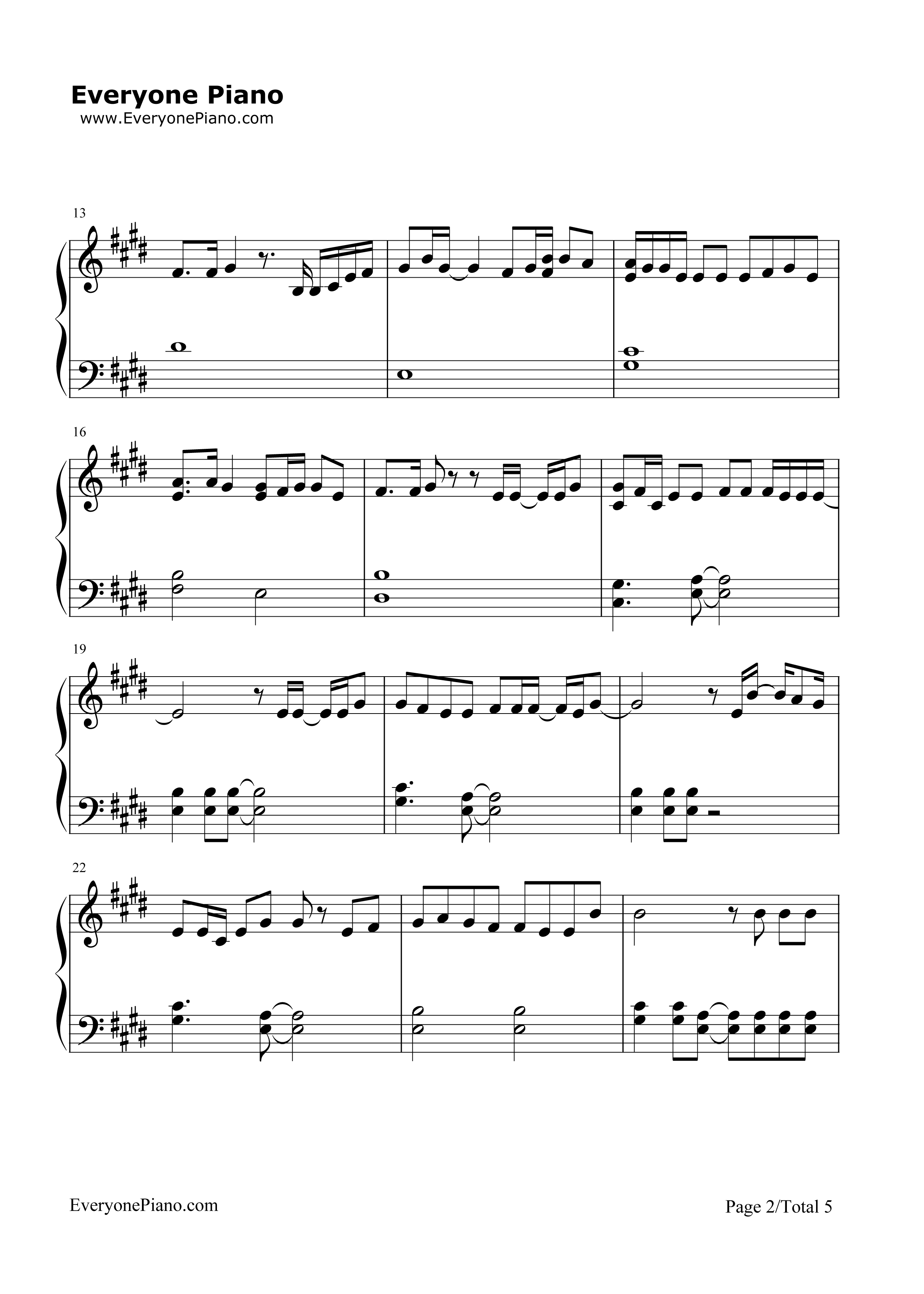 Love Yourself-Justin Bieber Stave Preview 2-Free Piano Sheet Music u0026 Piano Chords