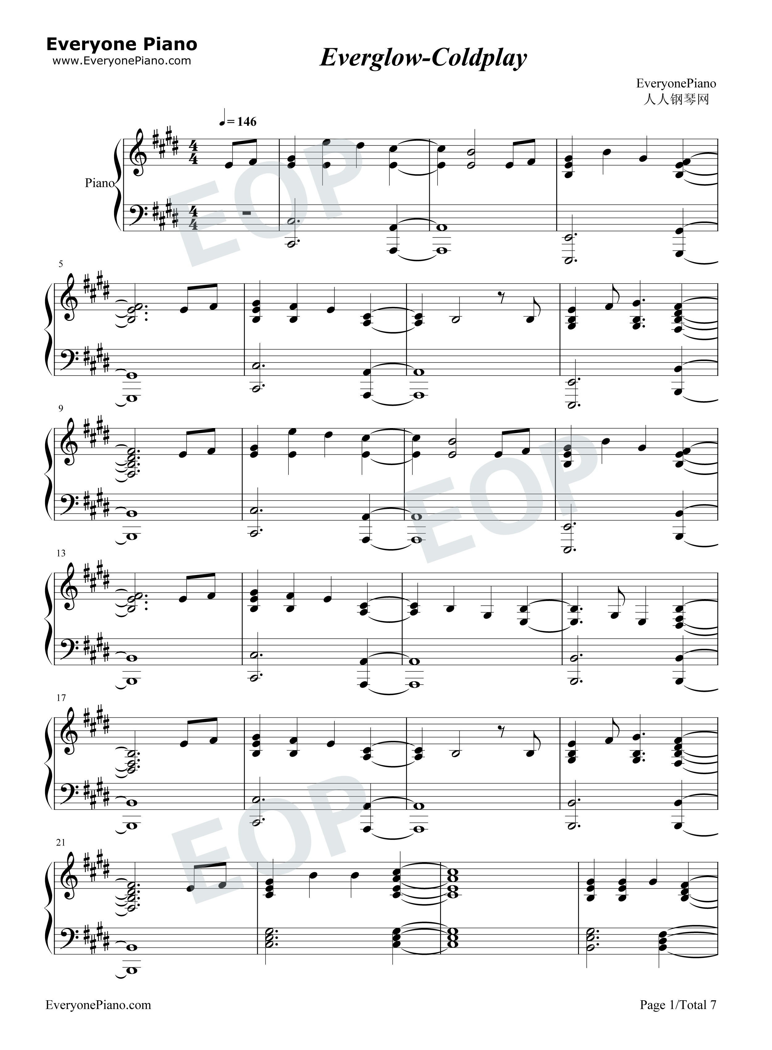 ... -Coldplay Stave Preview 1-Free Piano Sheet Music & Piano Chords