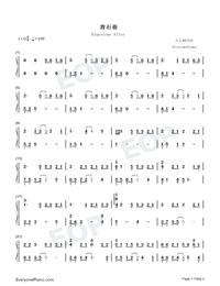 Bluestone Alley-ピアノタイル2 BGM両手略譜プレビュー1