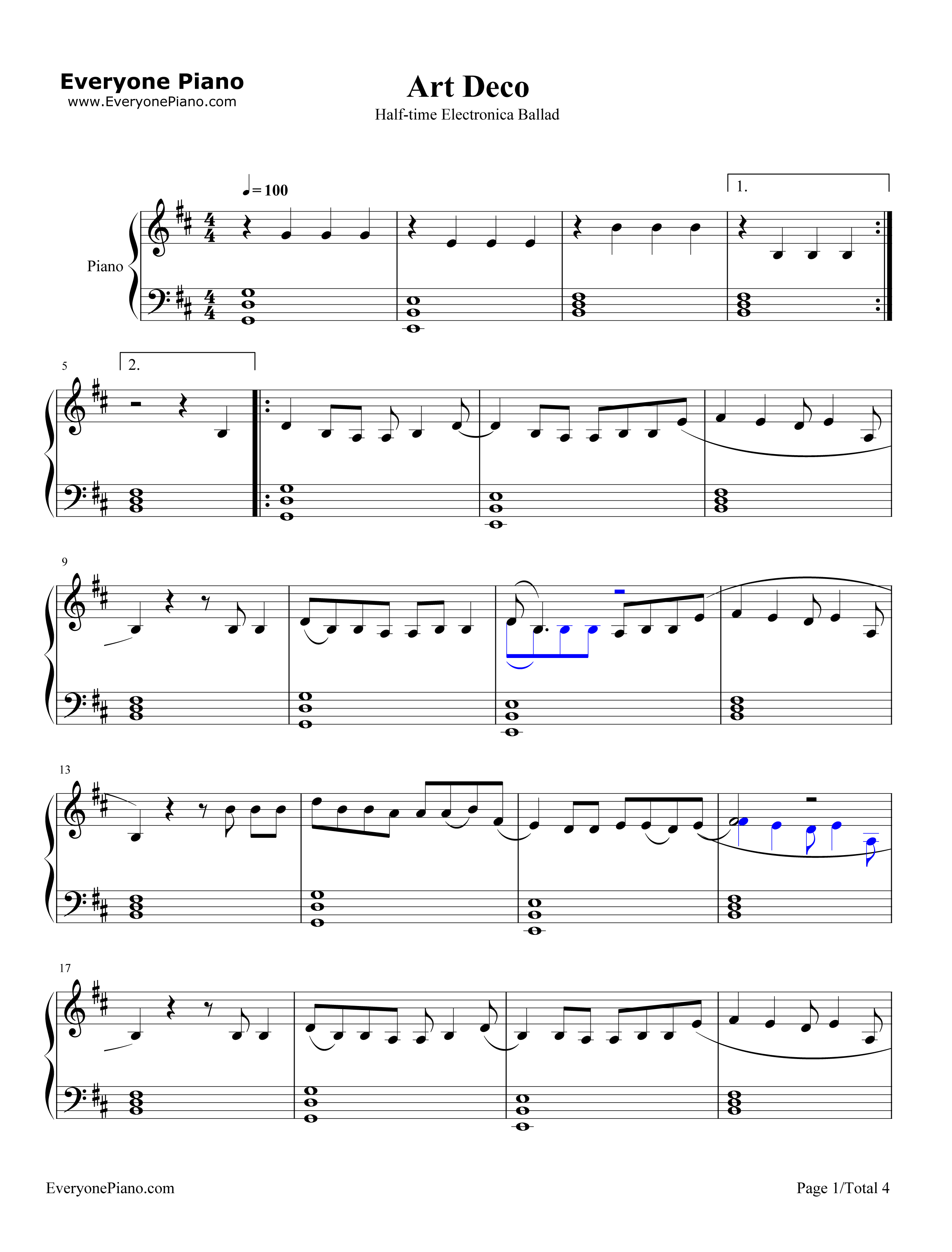 Art deco lana del rey stave preview 1 free piano sheet for Art deco lana del rey