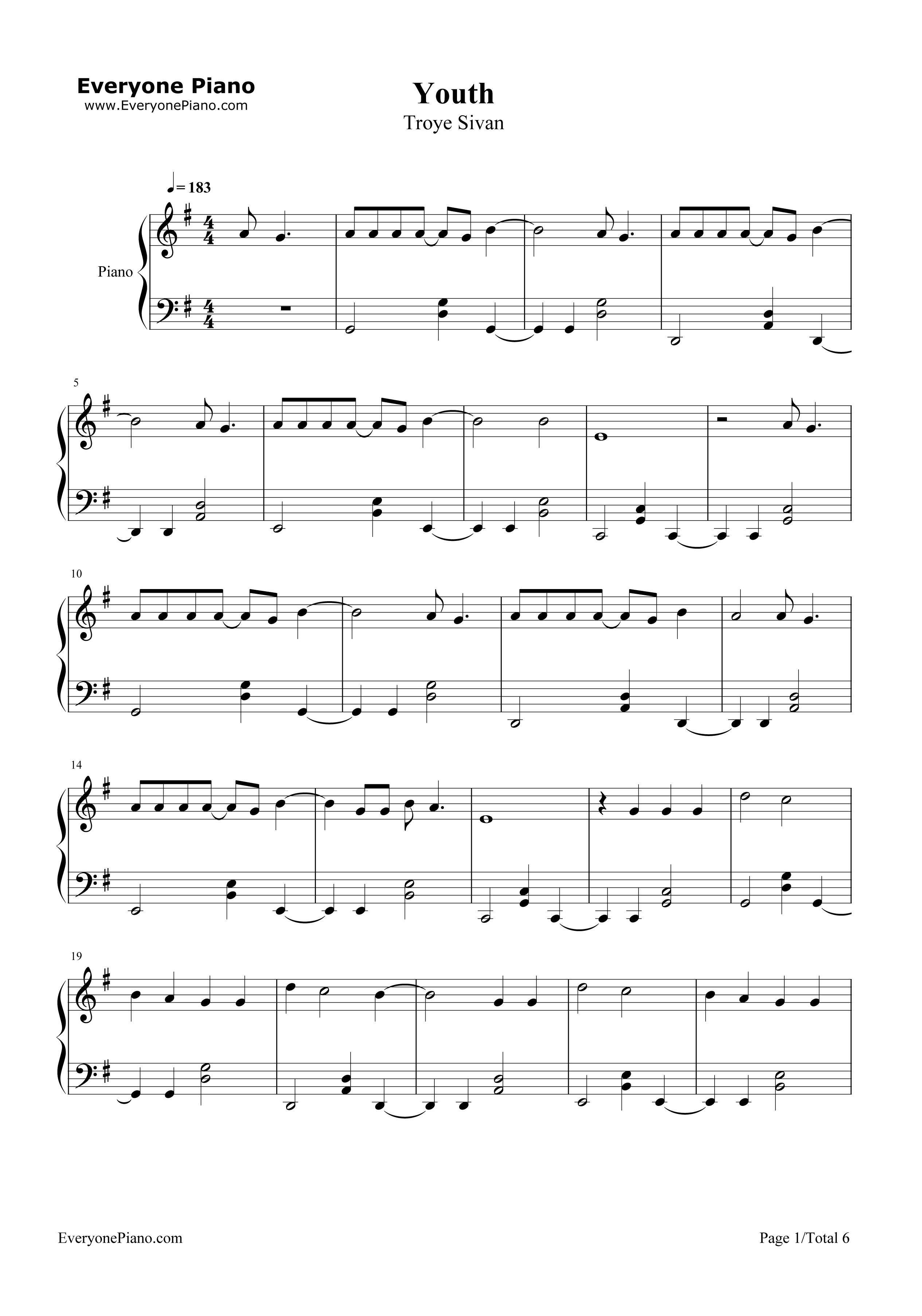 Youth Troye Sivan Stave Preview 1 Free Piano Sheet Music
