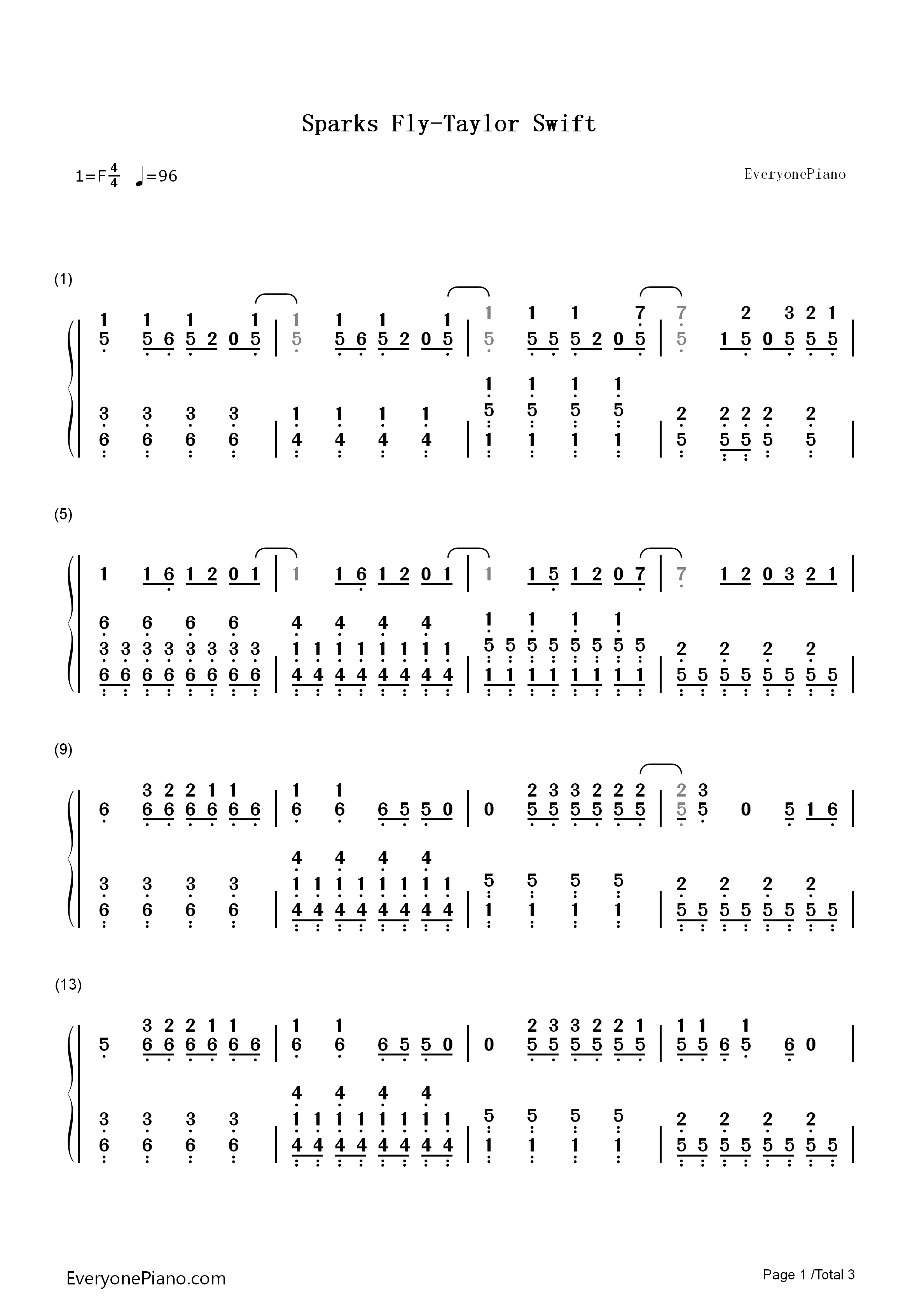 Taylor Swift Sparks Fly Guitar Chords
