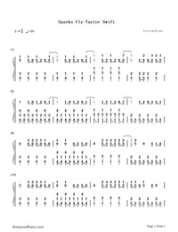 Sparks Fly-Taylor Swift-Numbered-Musical-Notation-Preview-1