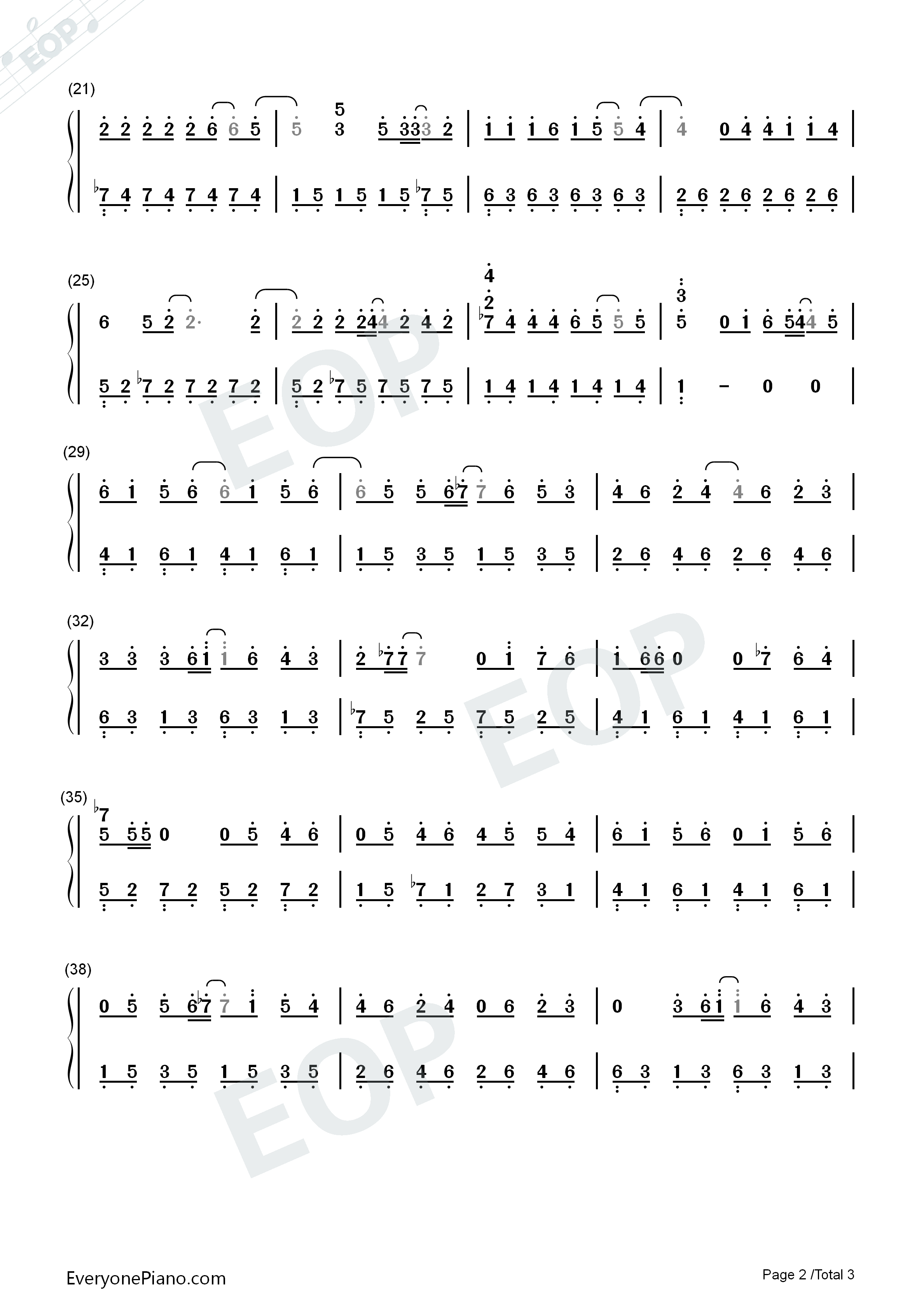 Simple Happiness-Easy Version Numbered Musical Notation Preview 2