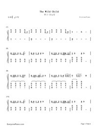The Wild Child-Su Yunying Numbered Musical Notation Preview 1