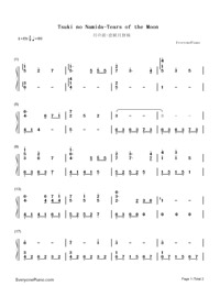 Tsuki no Namida-Tears of the Moon-Numbered-Musical-Notation-Preview-1