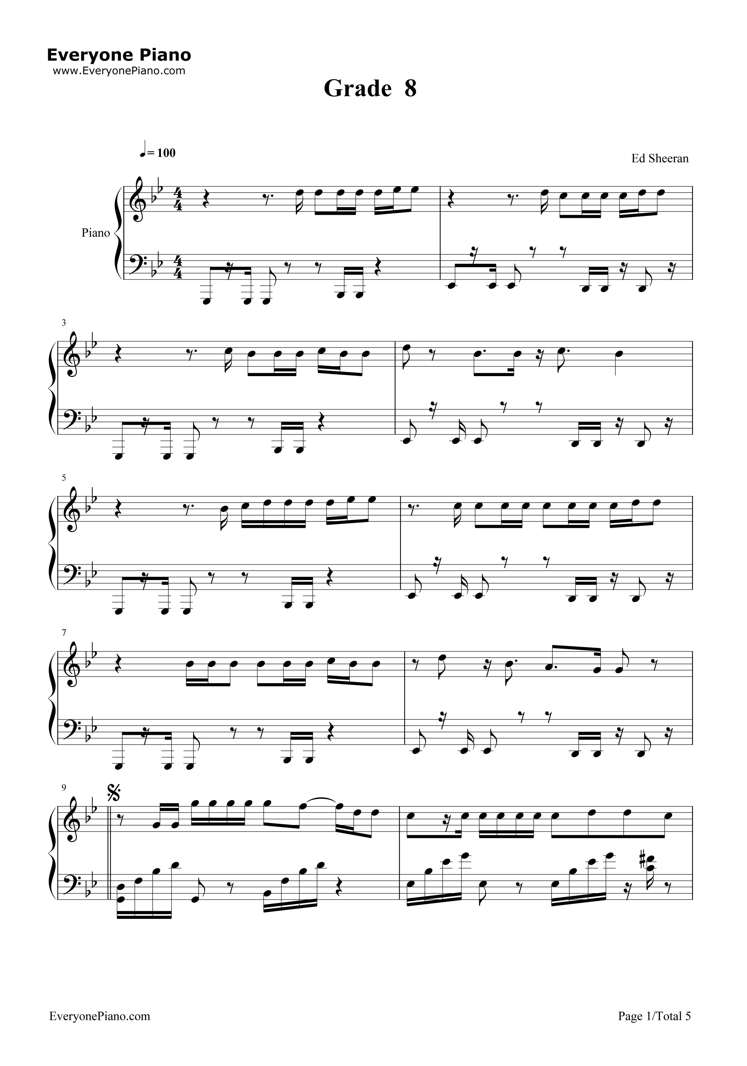Grade 8 ed sheeran free piano sheet music piano chords grade 8 ed sheeran stave preview 1 hexwebz Images