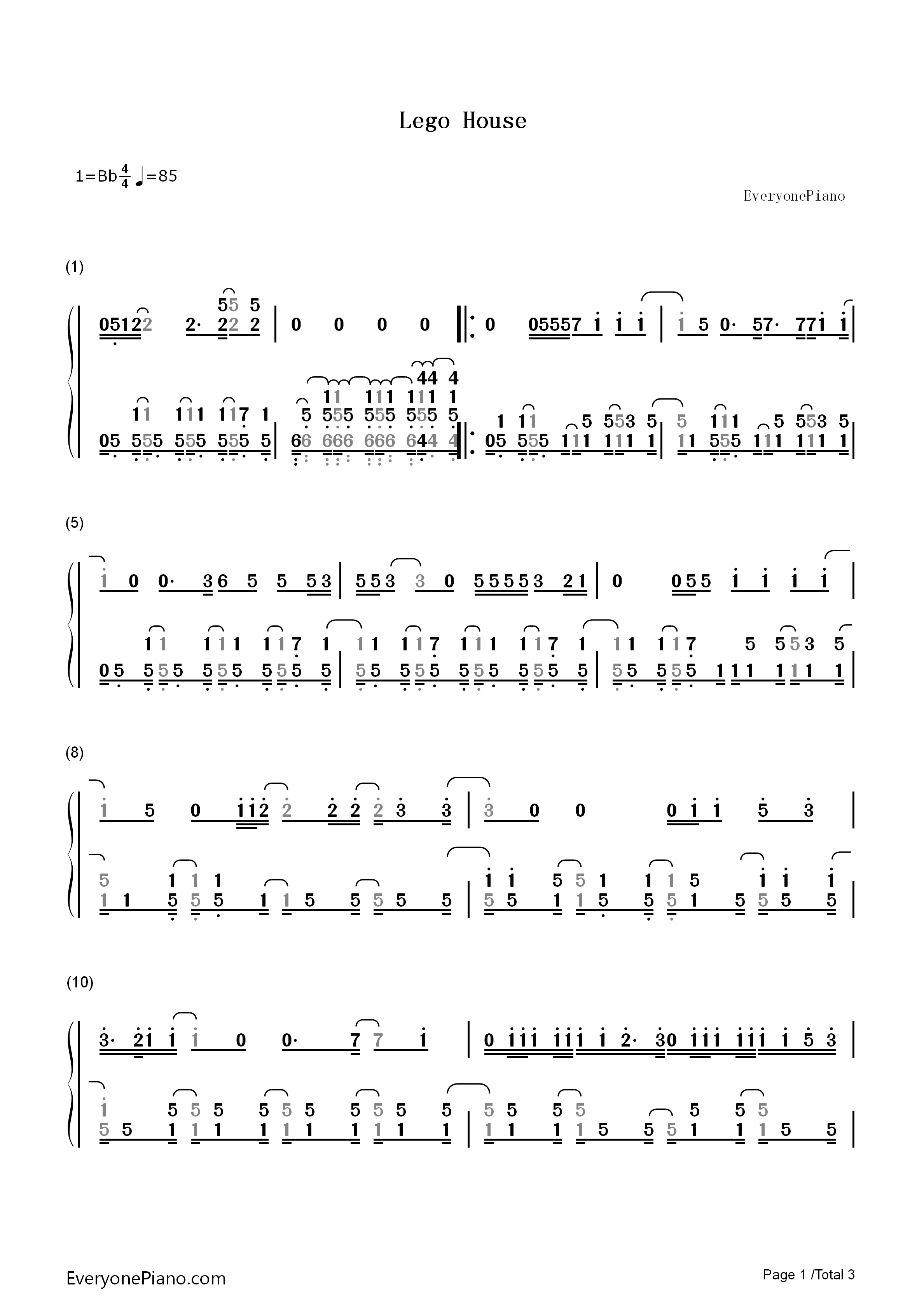 Lego house ed sheeran numbered musical notation preview 1 free listen now print sheet lego house ed sheeran numbered musical notation preview 1 hexwebz Images