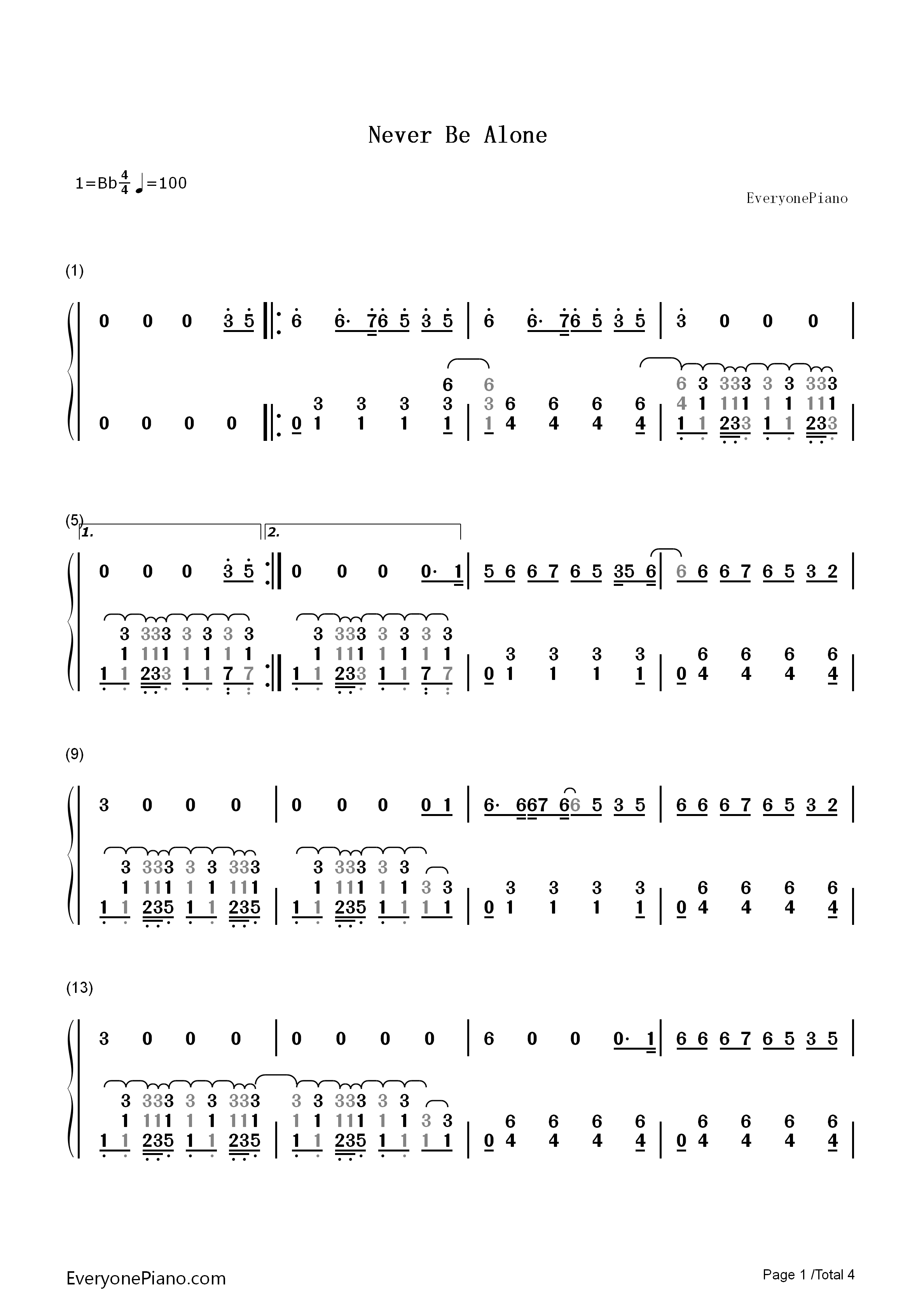 Never Be Alone Shawn Mendes Numbered Musical Notation Preview Eop