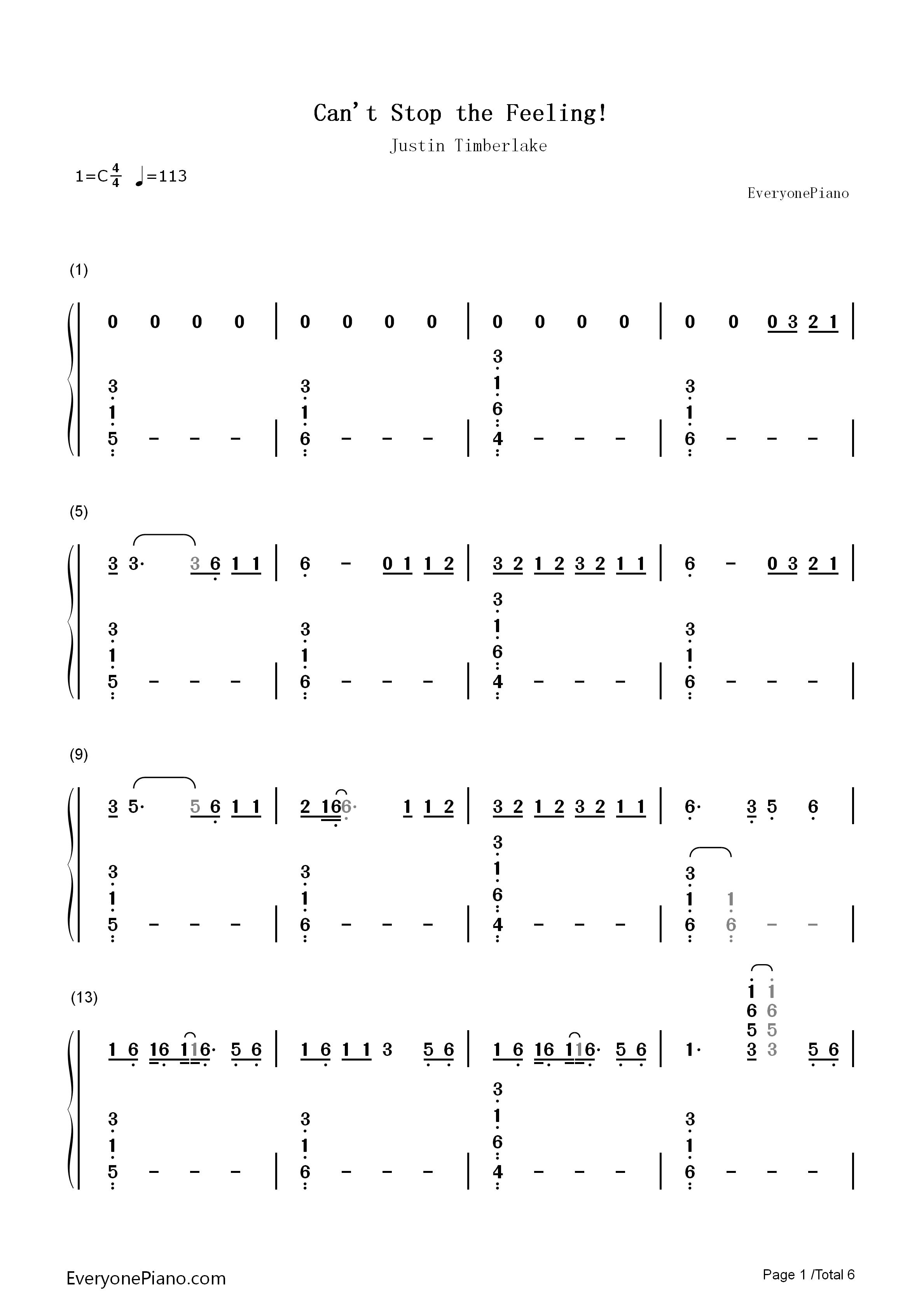 justin timberlake can t stop the feeling sheet music pdf