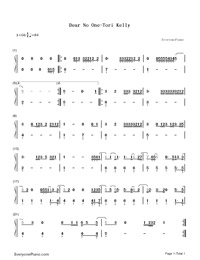 Dear No One-Tori Kelly-Numbered-Musical-Notation-Preview-1