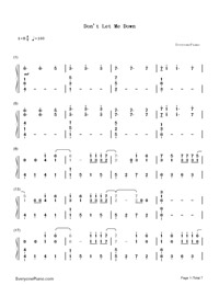 Don't Let Me Down-The Chainsmokers-Numbered-Musical-Notation-Preview-1