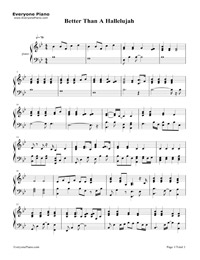 photo relating to Hallelujah Piano Sheet Music Free Printable identify Improved Than a Hallelujah Free of charge Piano Sheet Tunes Piano Chords