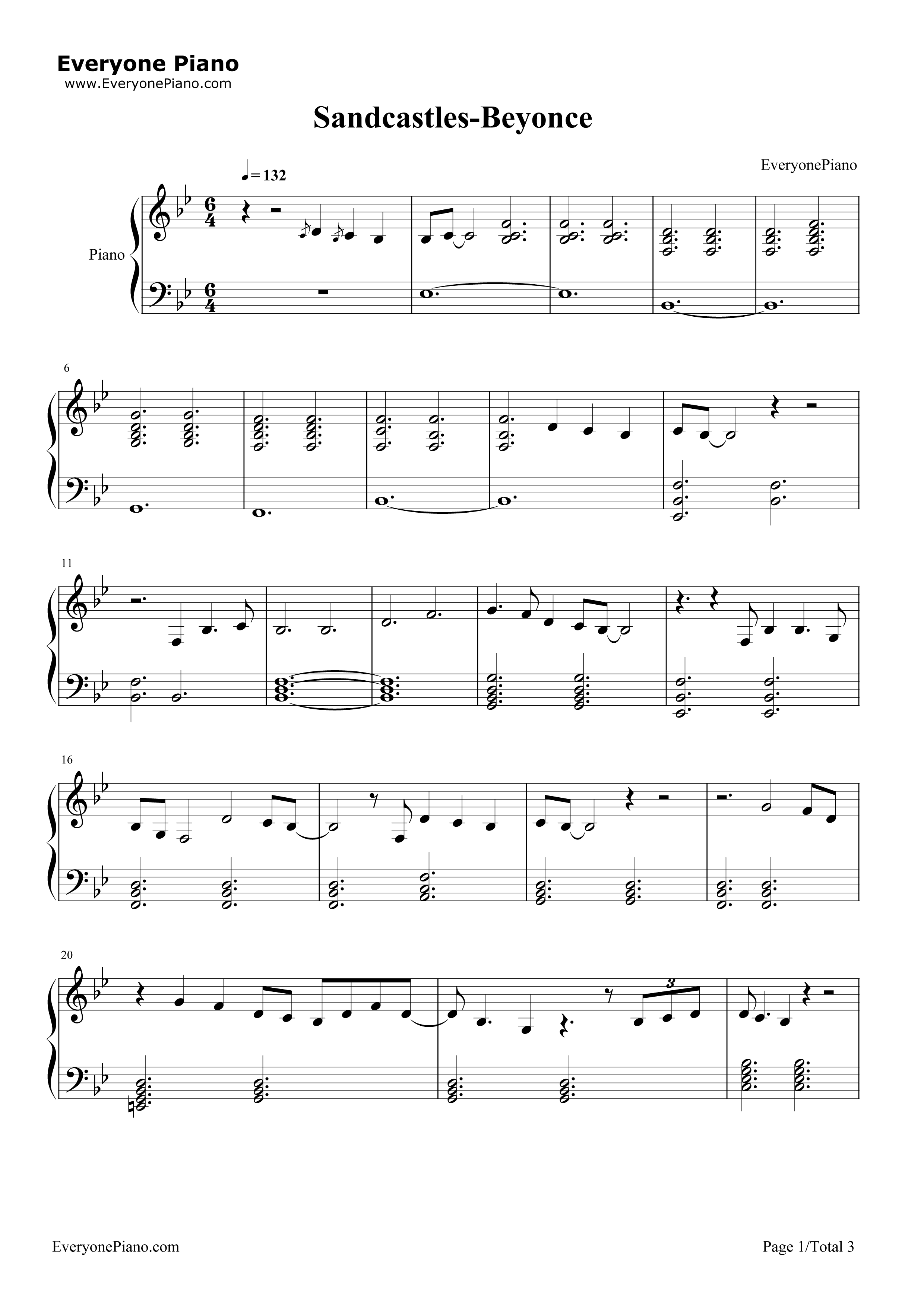 Sandcastles beyonc stave preview 1 free piano sheet music listen now print sheet sandcastles beyonc stave preview 1 hexwebz Gallery
