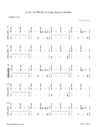 Life Is Worth Living-Justin Bieber-Numbered-Musical-Notation-Preview-1