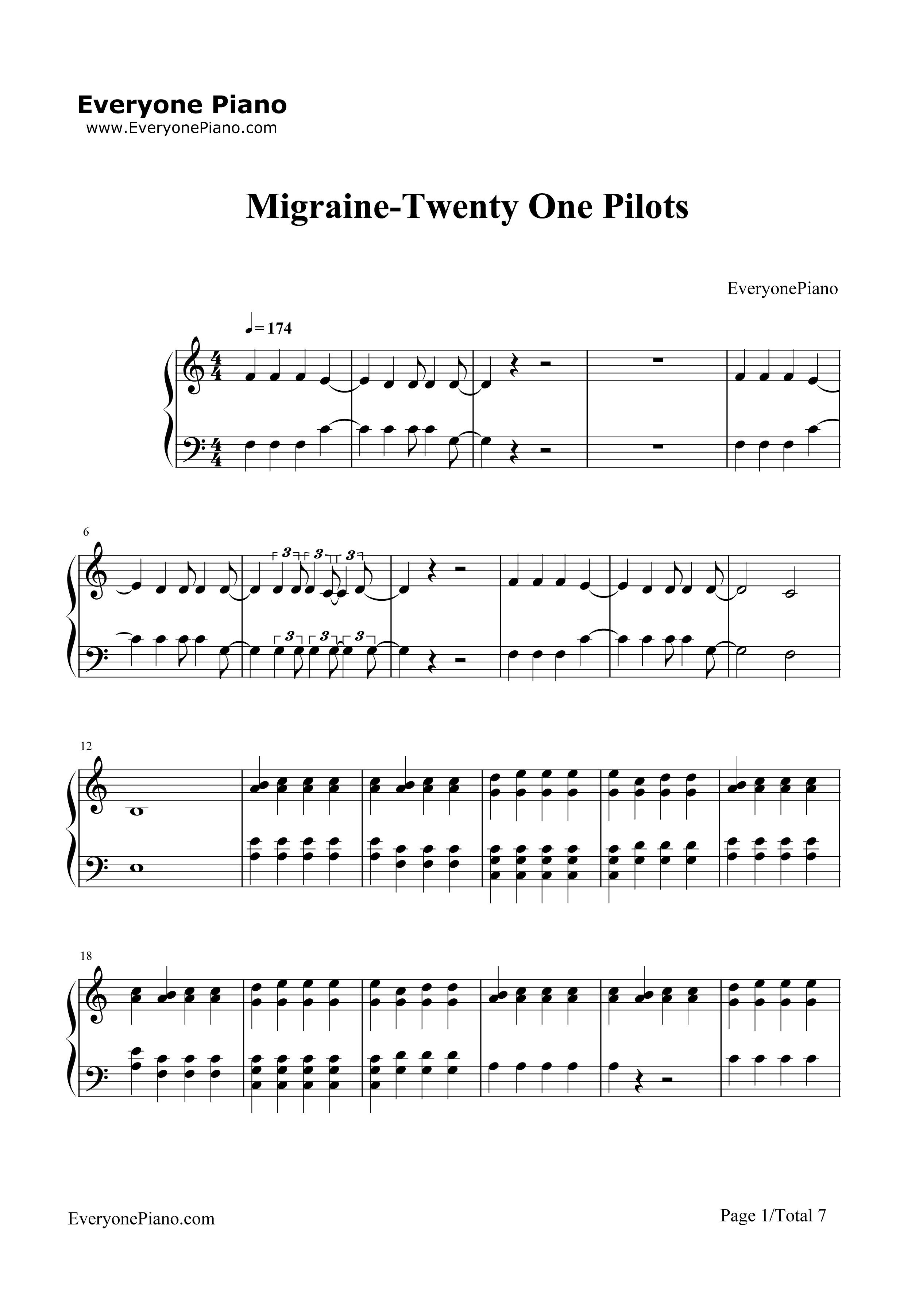Migraine twenty one pilots stave preview 1 free piano sheet music listen now print sheet migraine twenty one pilots stave preview 1 hexwebz Images
