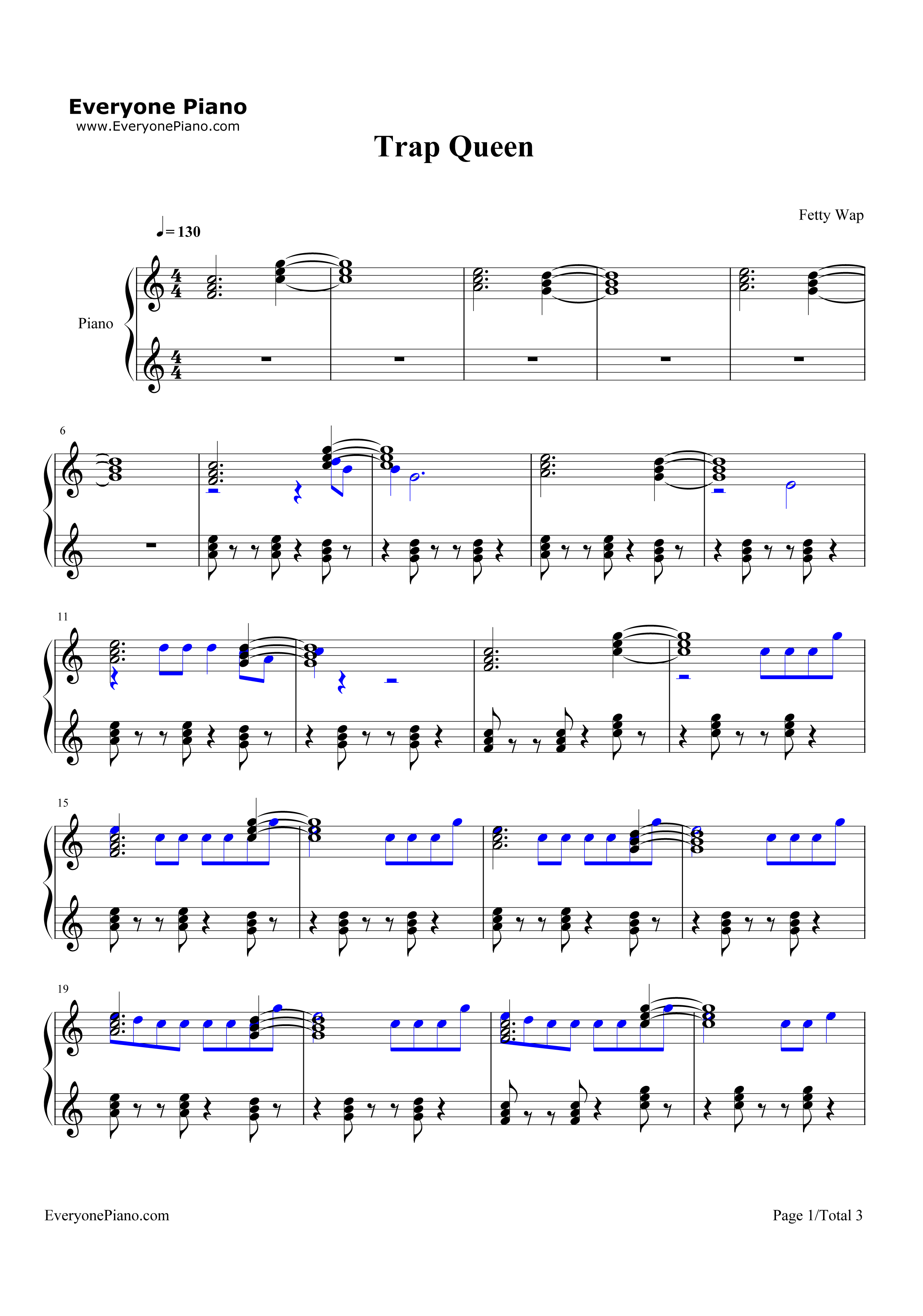Trap Queen-Fetty Wap Stave Preview 1-Free Piano Sheet Music u0026 Piano Chords