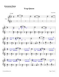 Trap Queen-Fetty Wap Free Piano Sheet Music & Piano Chords