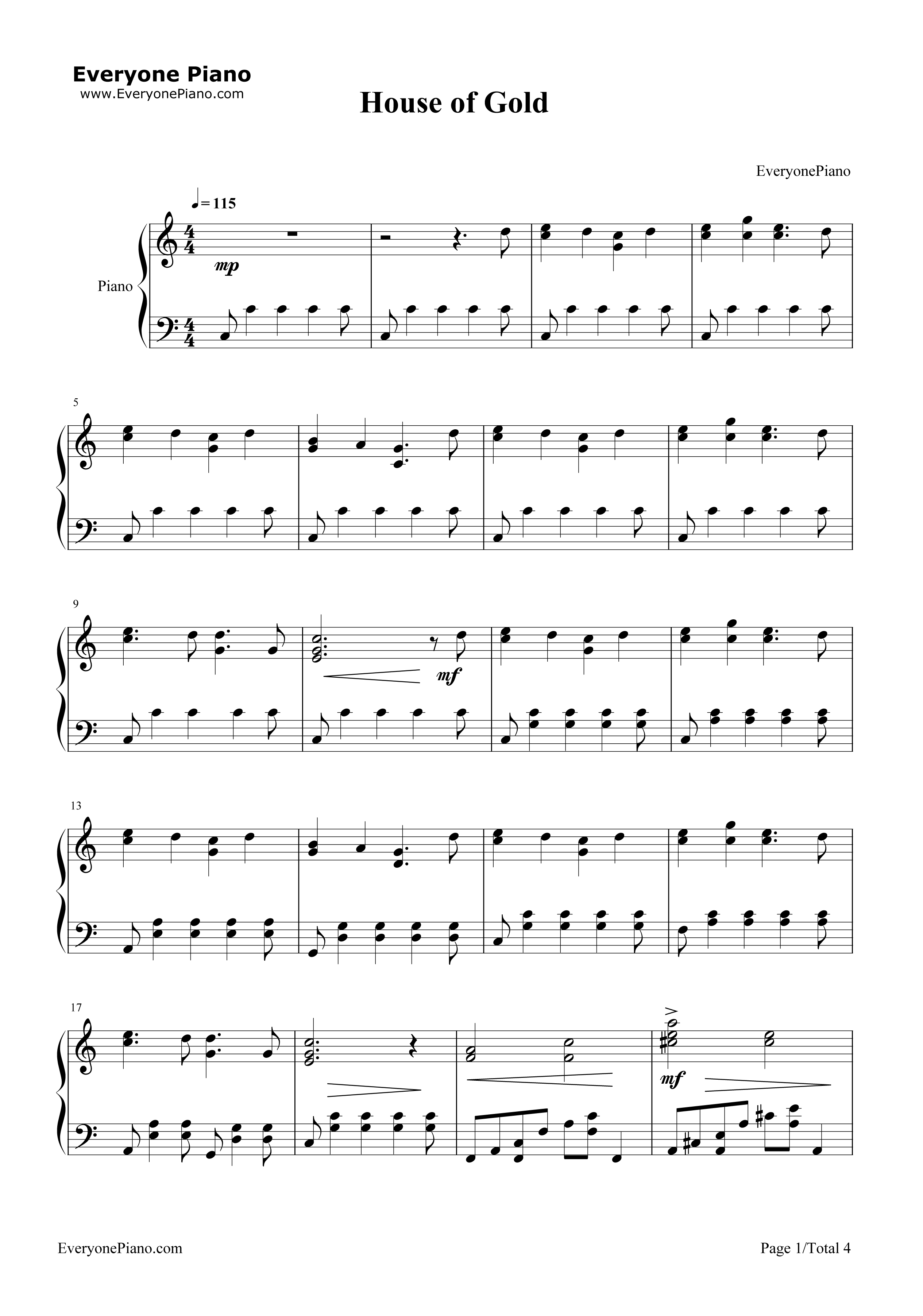House of gold twenty one pilots stave preview 1 free piano sheet listen now print sheet house of gold twenty one pilots stave preview 1 hexwebz Choice Image