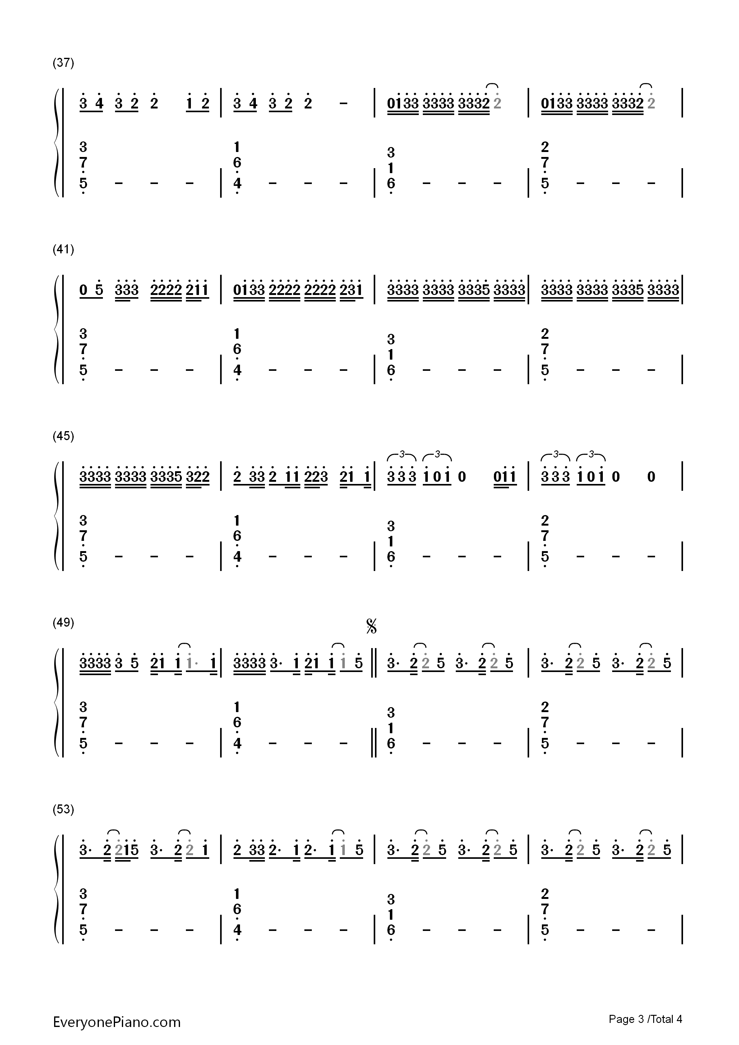 I Hate U, I Love U-Gnash Numbered Musical Notation Preview 3