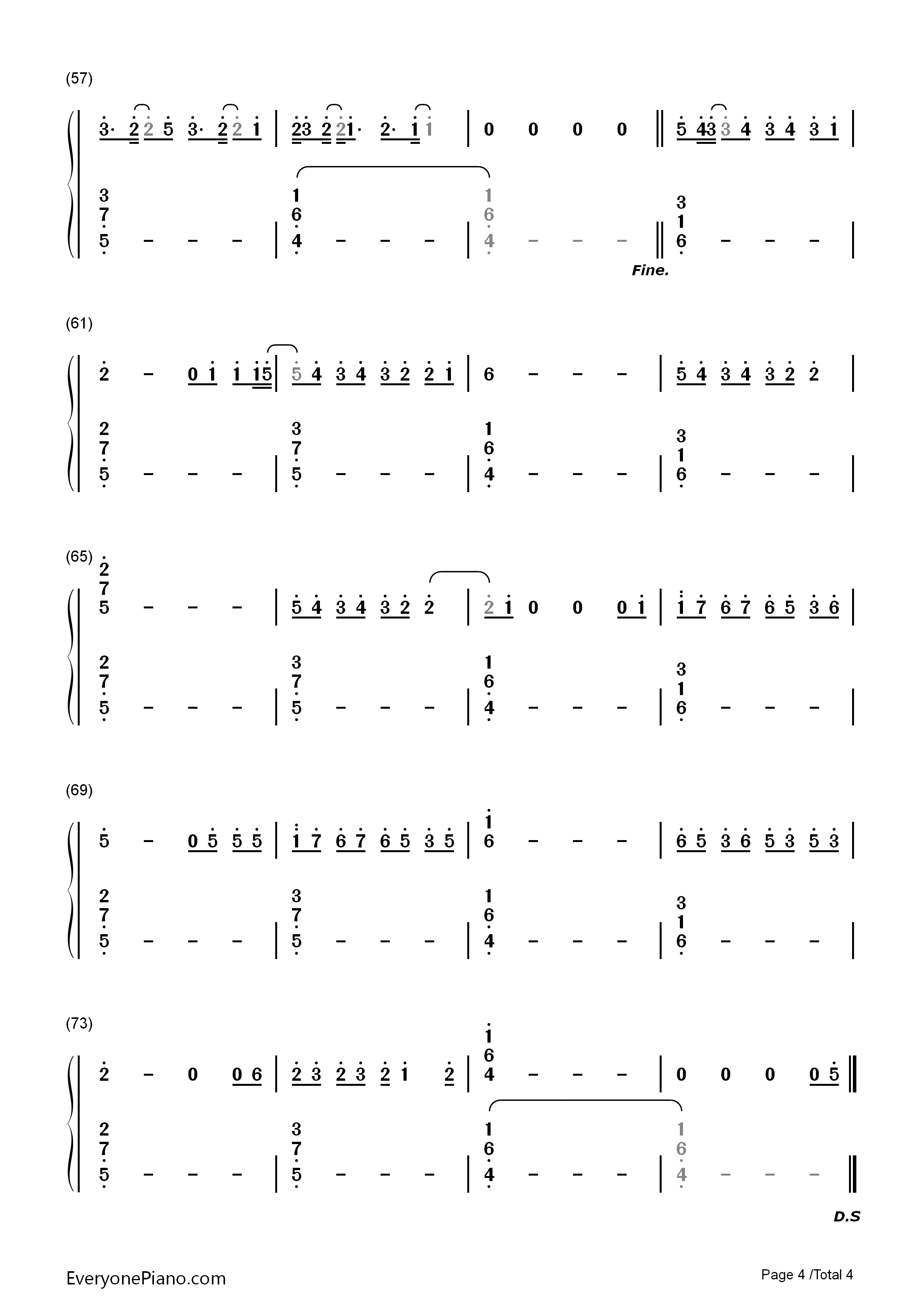 I Hate U, I Love U-Gnash Numbered Musical Notation Preview 4