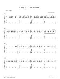 I Hate U, I Love U-Gnash Numbered Musical Notation Preview 1