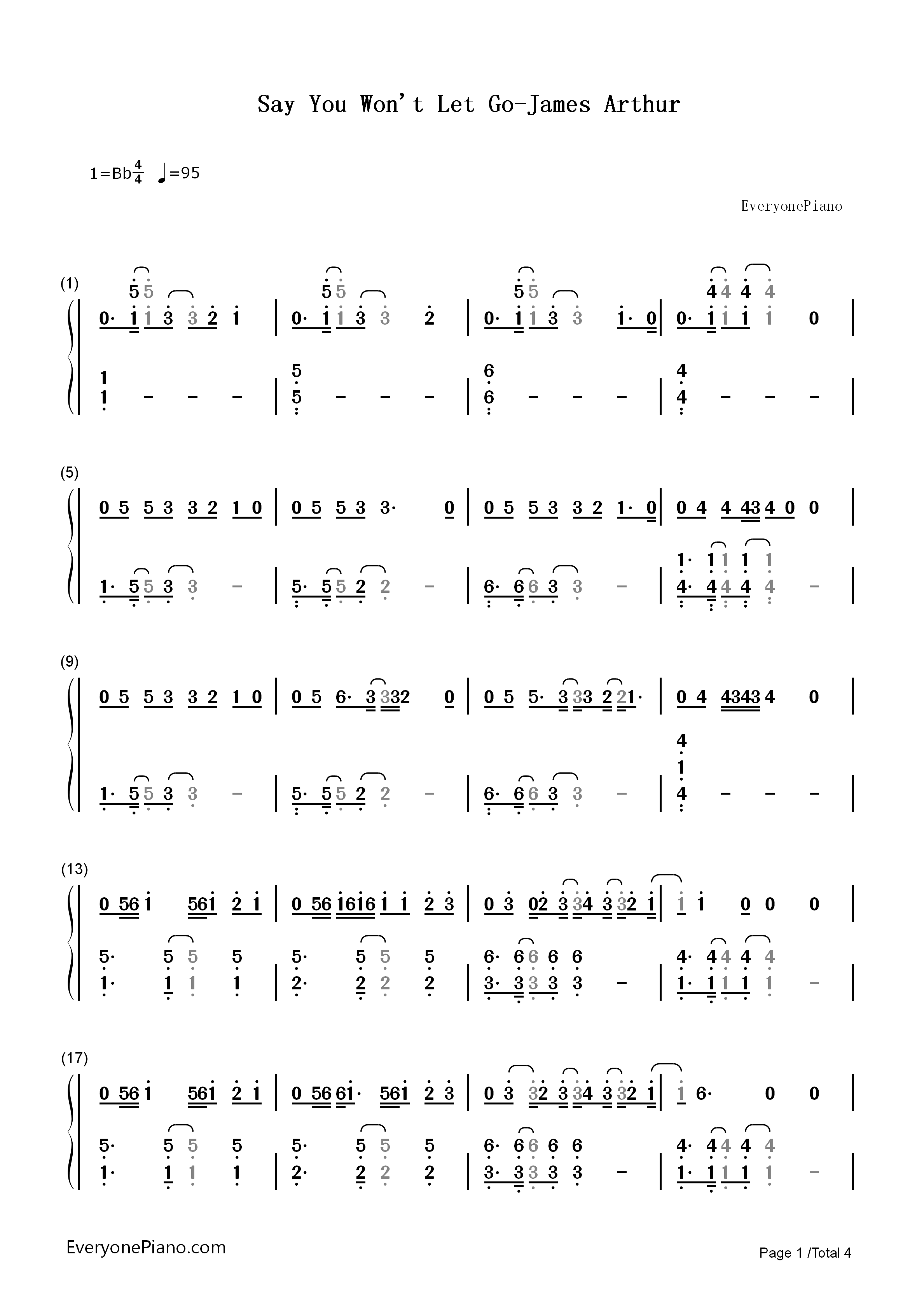 Say You Won't Let Go-James Arthur Numbered Musical Notation Preview 1