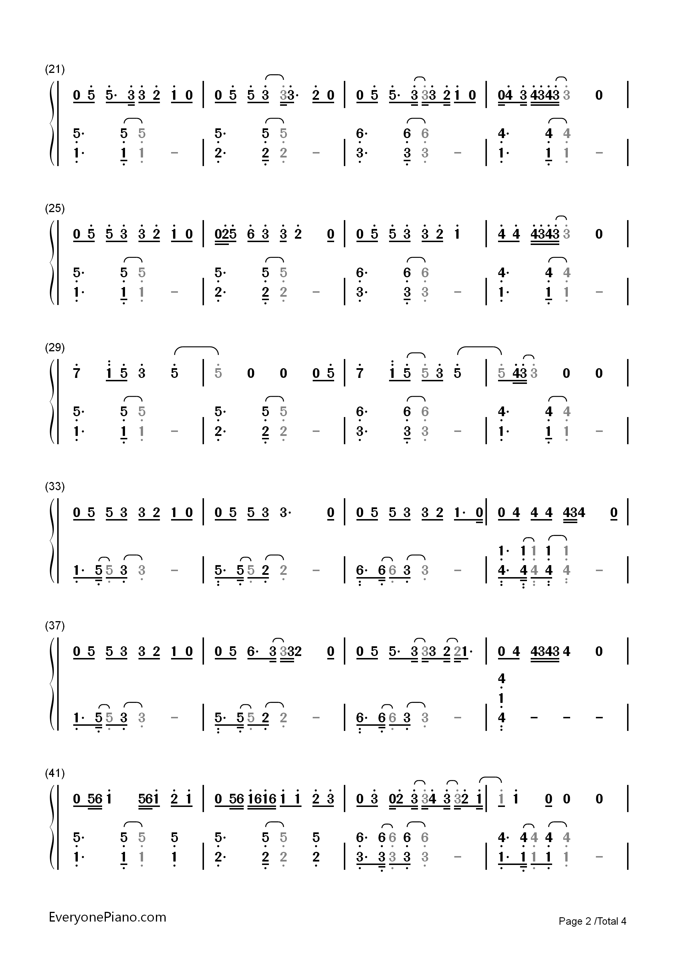 Say You Won't Let Go-James Arthur Numbered Musical Notation Preview 2