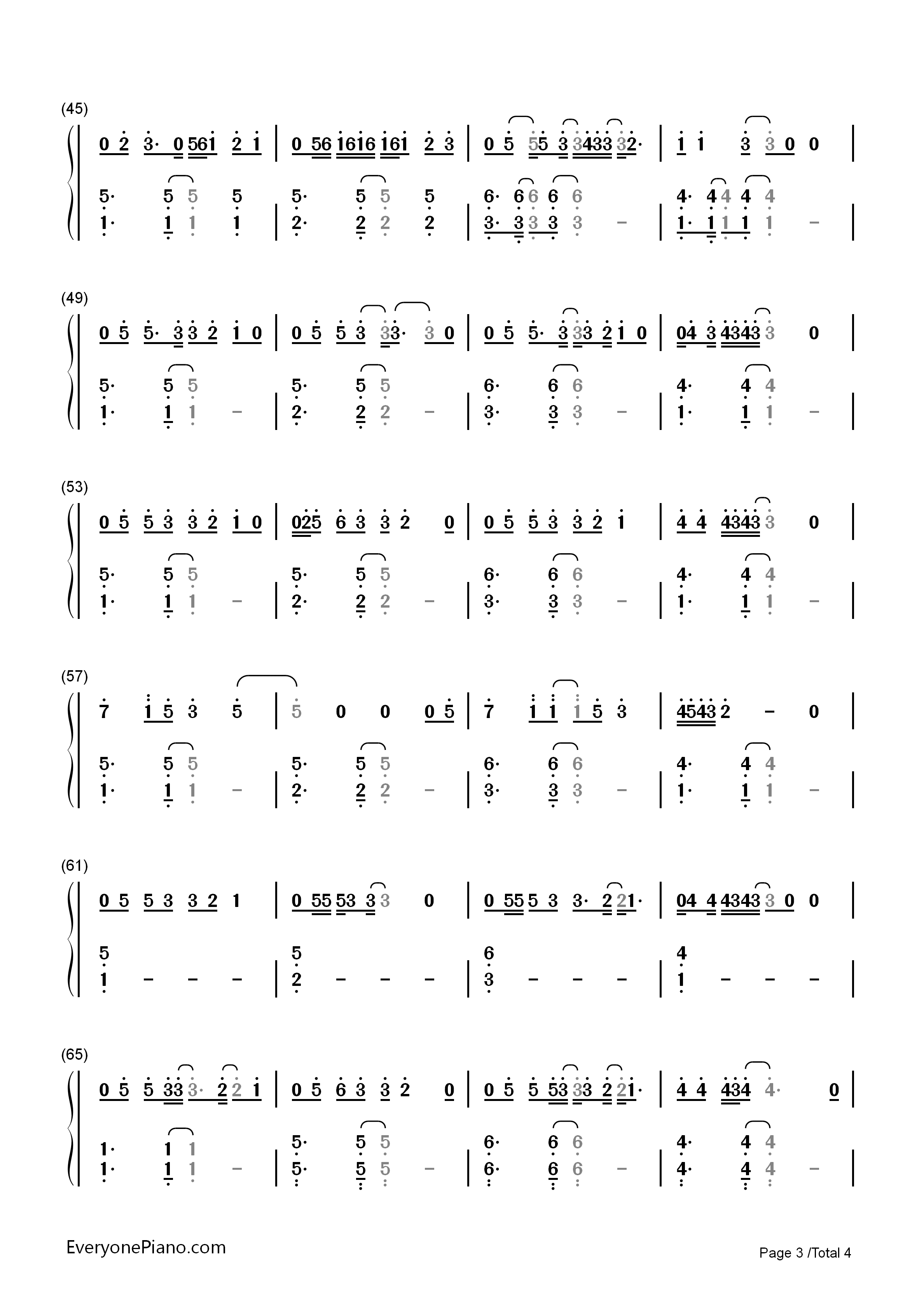 Say You Won't Let Go-James Arthur Numbered Musical Notation Preview 3