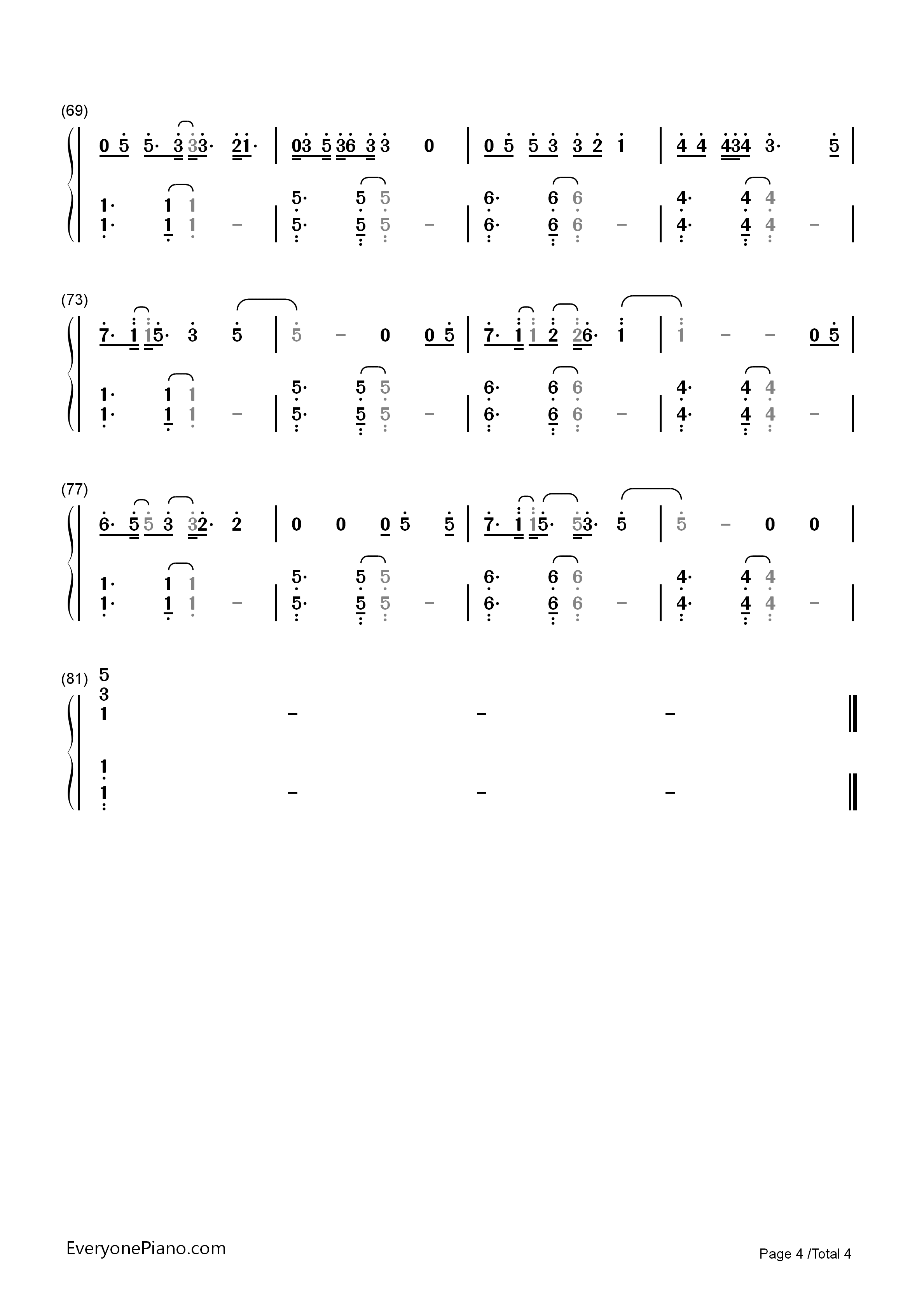 Say You Won't Let Go-James Arthur Numbered Musical Notation Preview 4