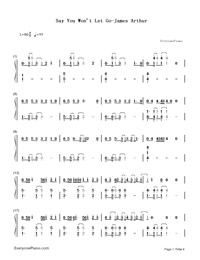 Say You Won't Let Go-James Arthur-Numbered-Musical-Notation-Preview-1