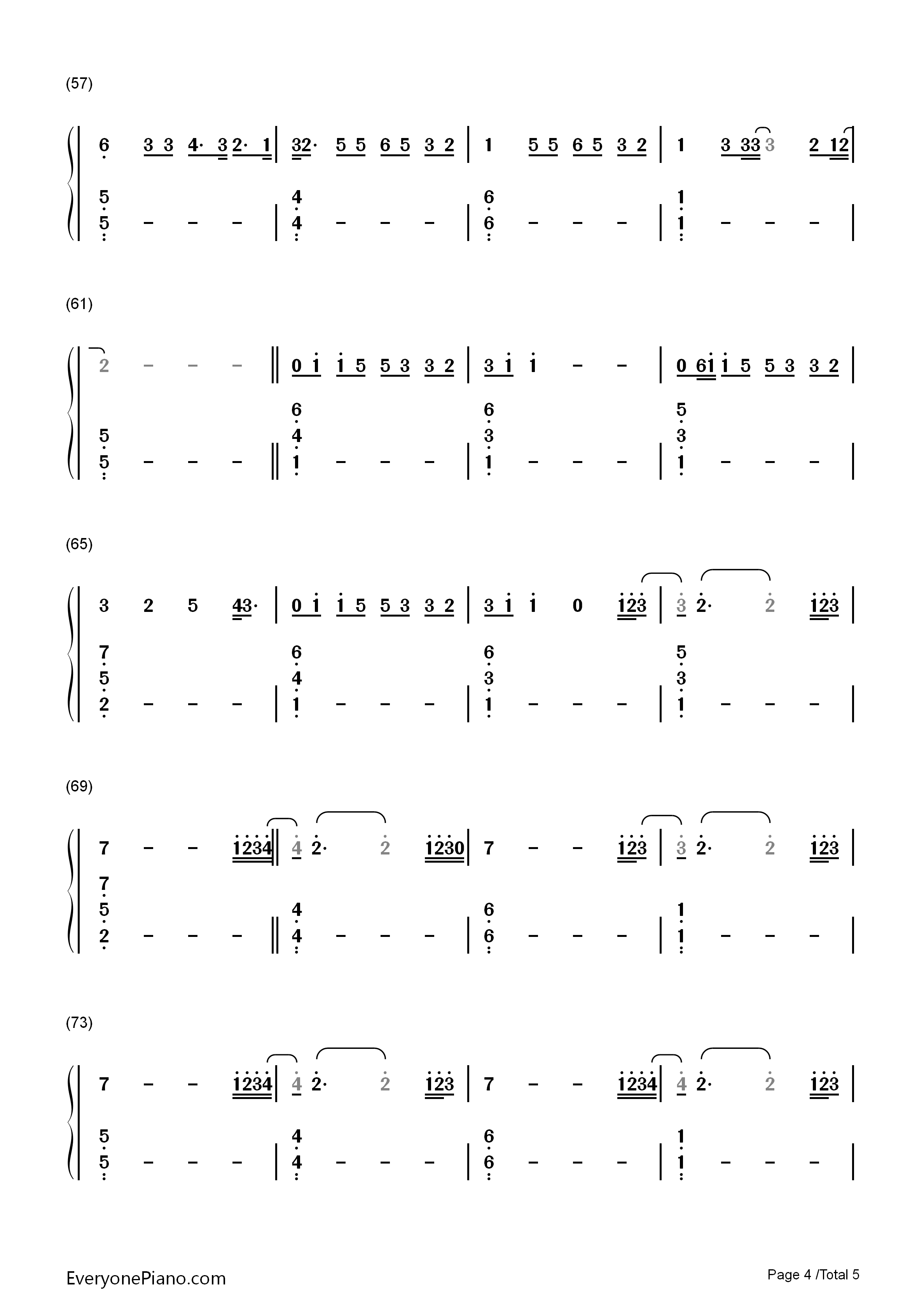 International Love-Pitbull Numbered Musical Notation Preview (Total 3)