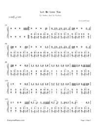 Let Me Love You-DJ Snake,Justin Bieber-Numbered-Musical-Notation-Preview-1