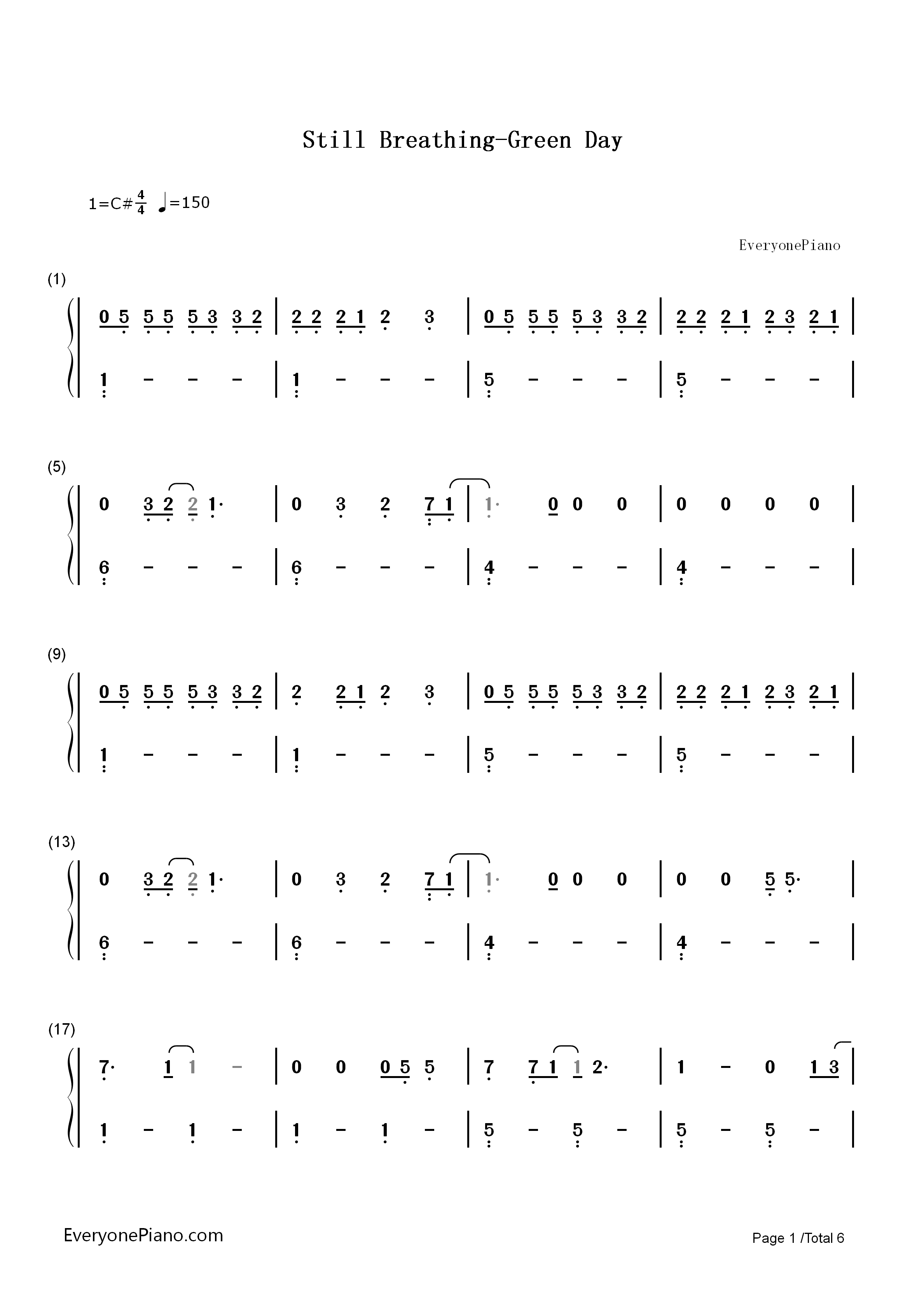 Still breathing green day numbered musical notation preview 1 listen now print sheet still breathing green day numbered musical notation preview 1 hexwebz Image collections