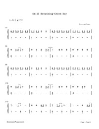 Still Breathing-Green Day-Numbered-Musical-Notation-Preview-1