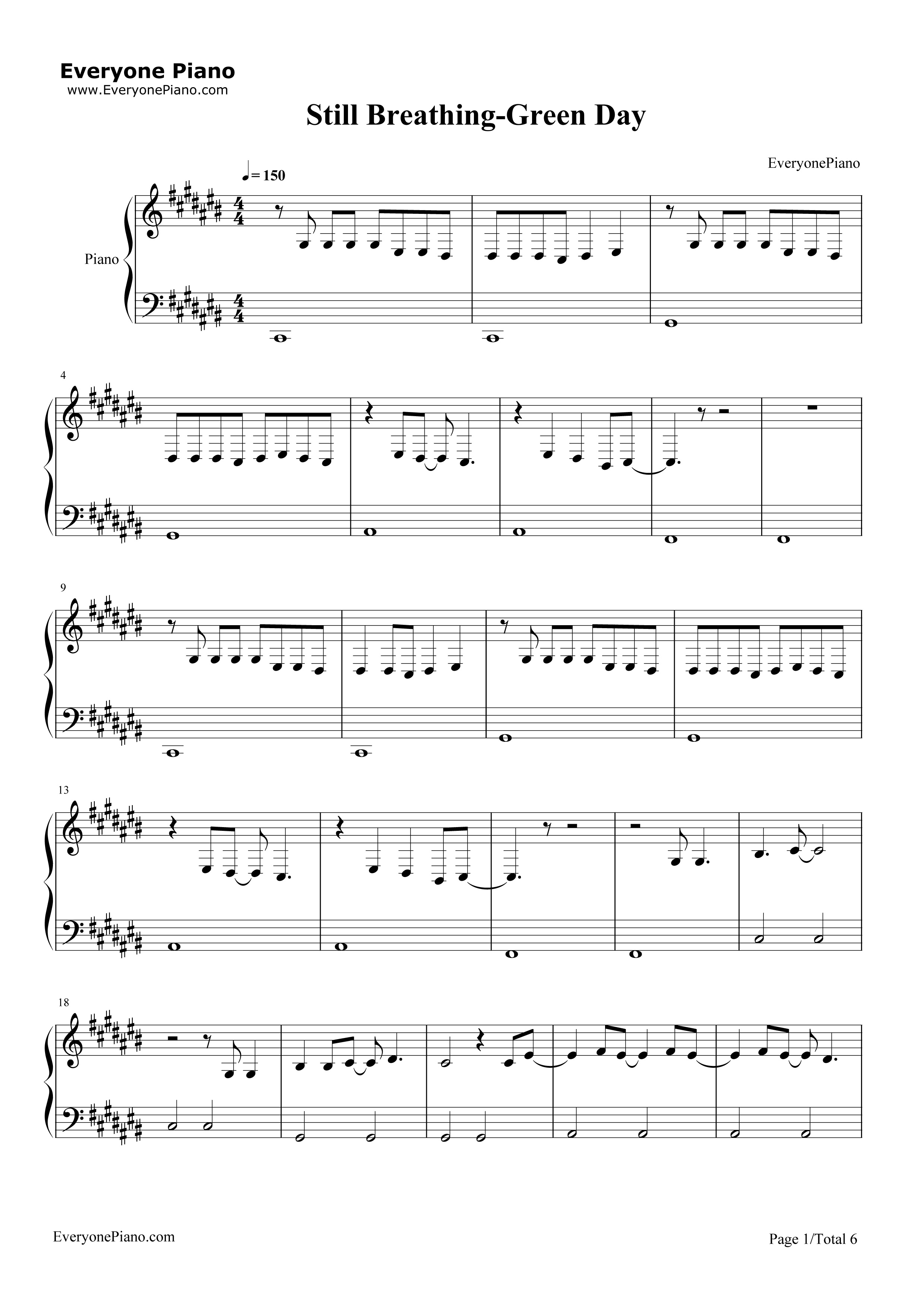 Still breathing green day stave preview 1 free piano sheet music listen now print sheet still breathing green day stave preview 1 hexwebz Image collections