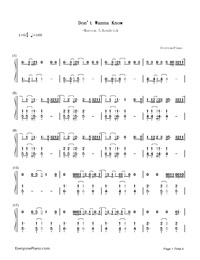 Don't Wanna Know-Maroon 5,Kendrick Lamar-Numbered-Musical-Notation-Preview-1
