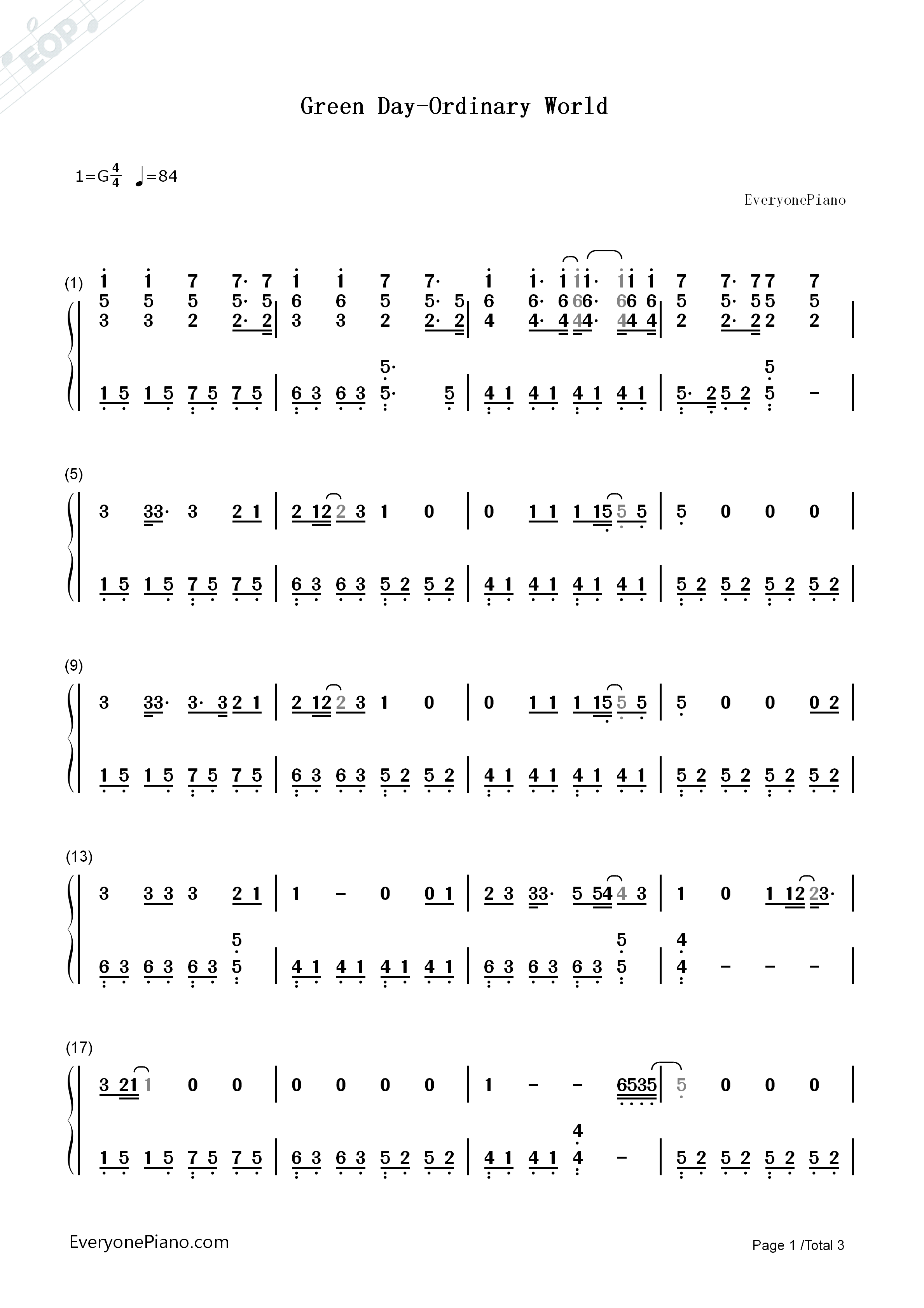 Green Day Ordinary World Numbered Musical Notation Preview