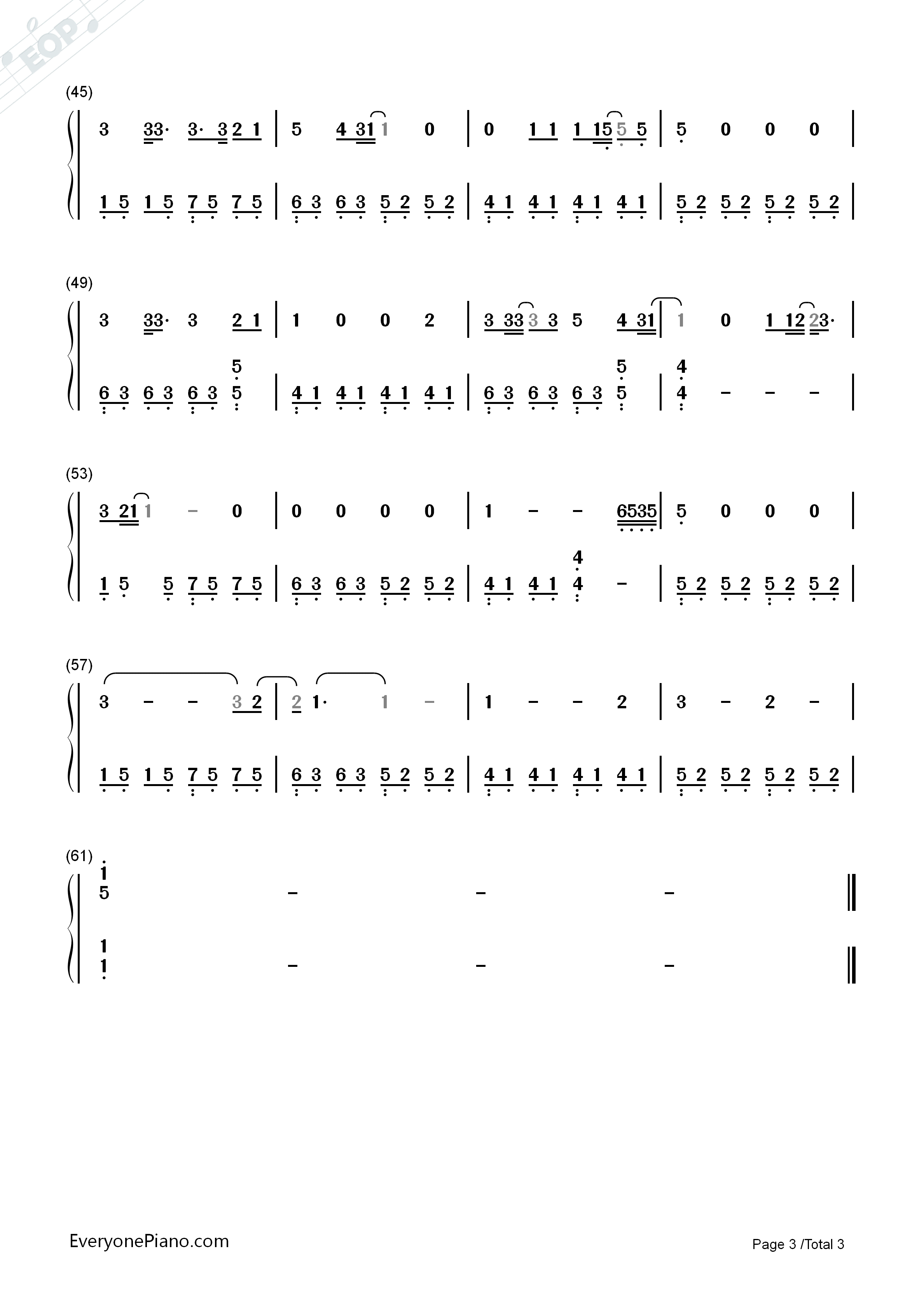 Green day ordinary world numbered musical notation preview 3 free listen now print sheet green day ordinary world numbered musical notation preview 3 hexwebz Image collections