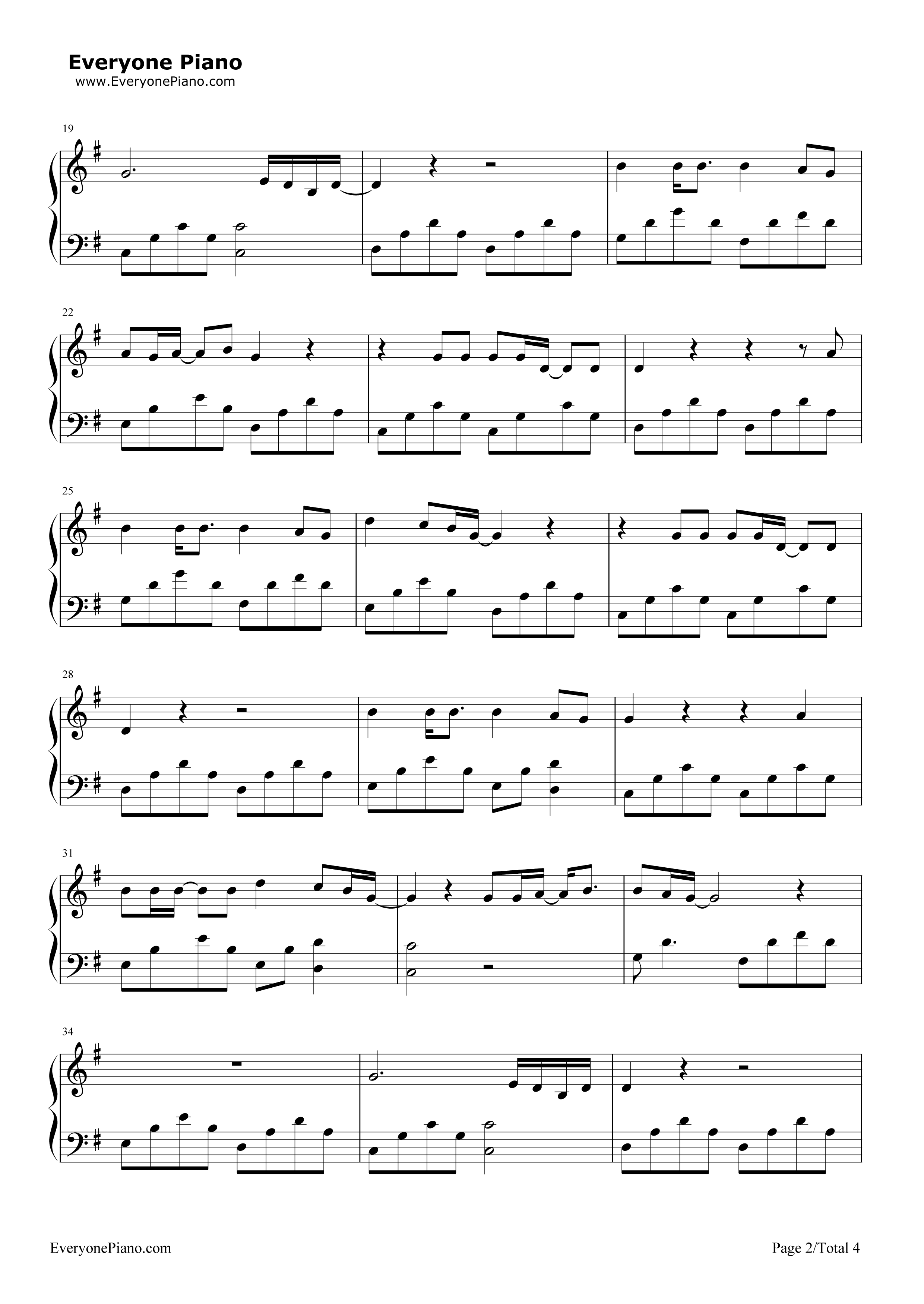 Green day ordinary world stave preview 2 free piano sheet music listen now print sheet green day ordinary world stave preview 2 hexwebz Image collections