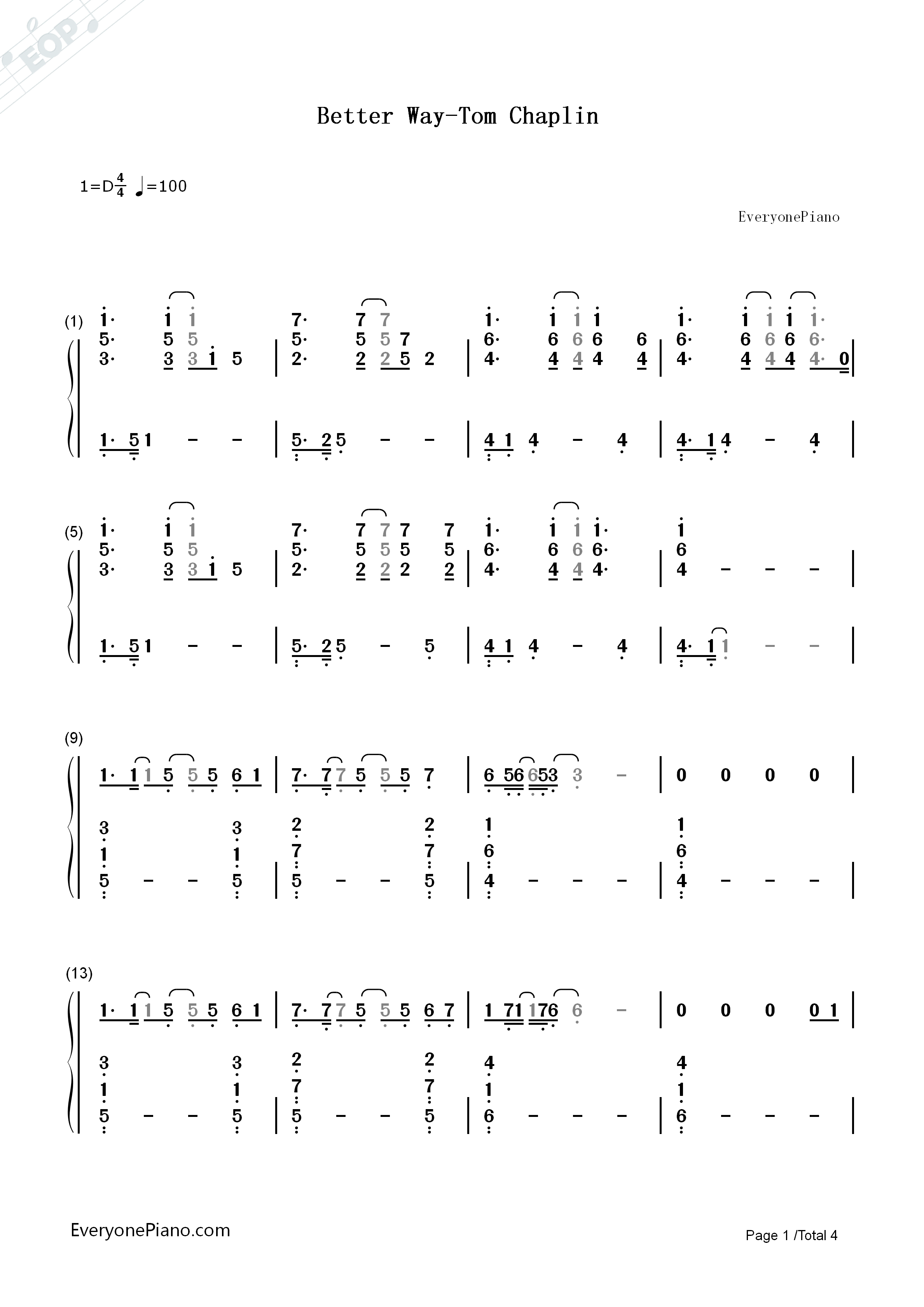 Better Way-Tom Chaplin Numbered Musical Notation Preview 1